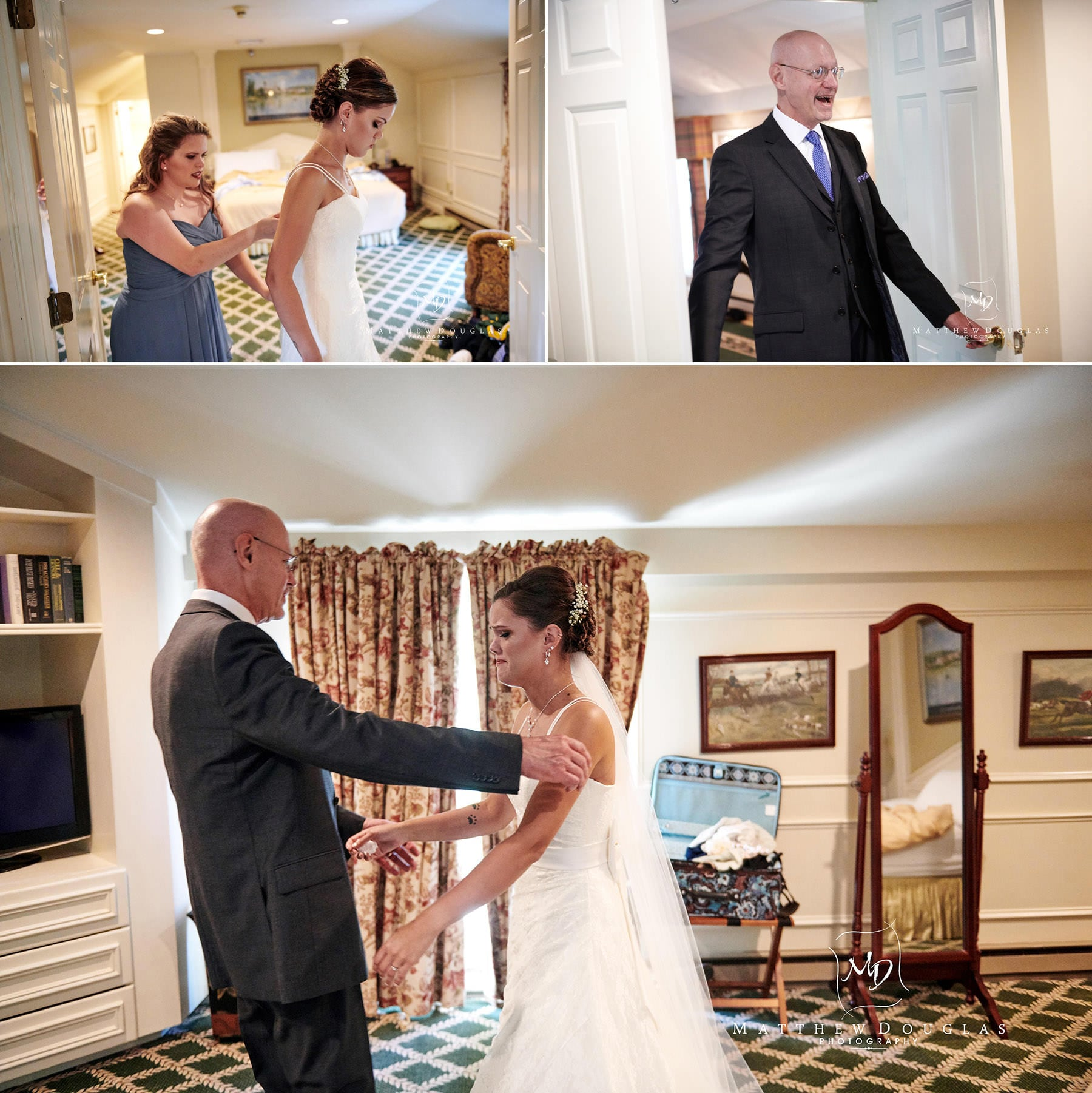 olde mill inn wedding first look with dad