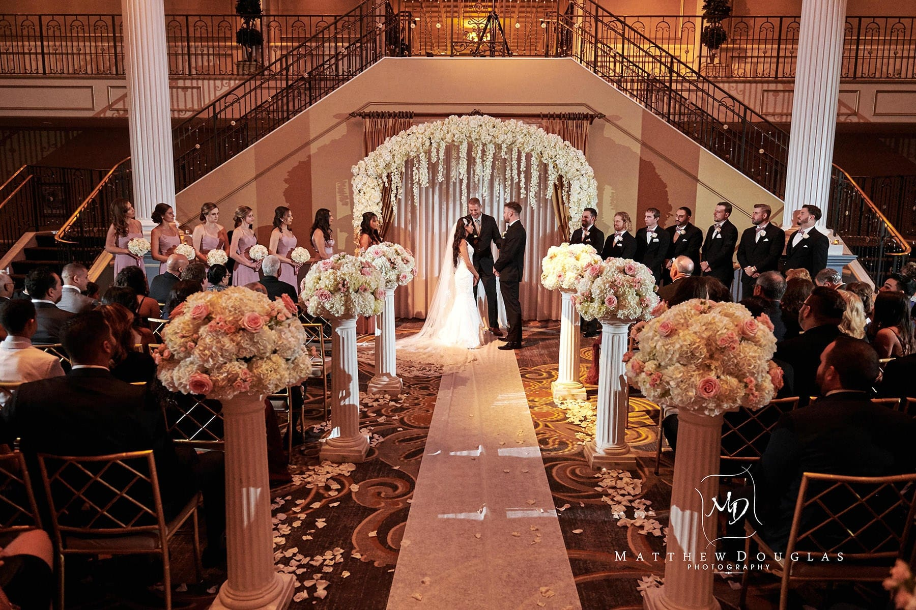 indoor wedding ceremony at the palace at somerset park