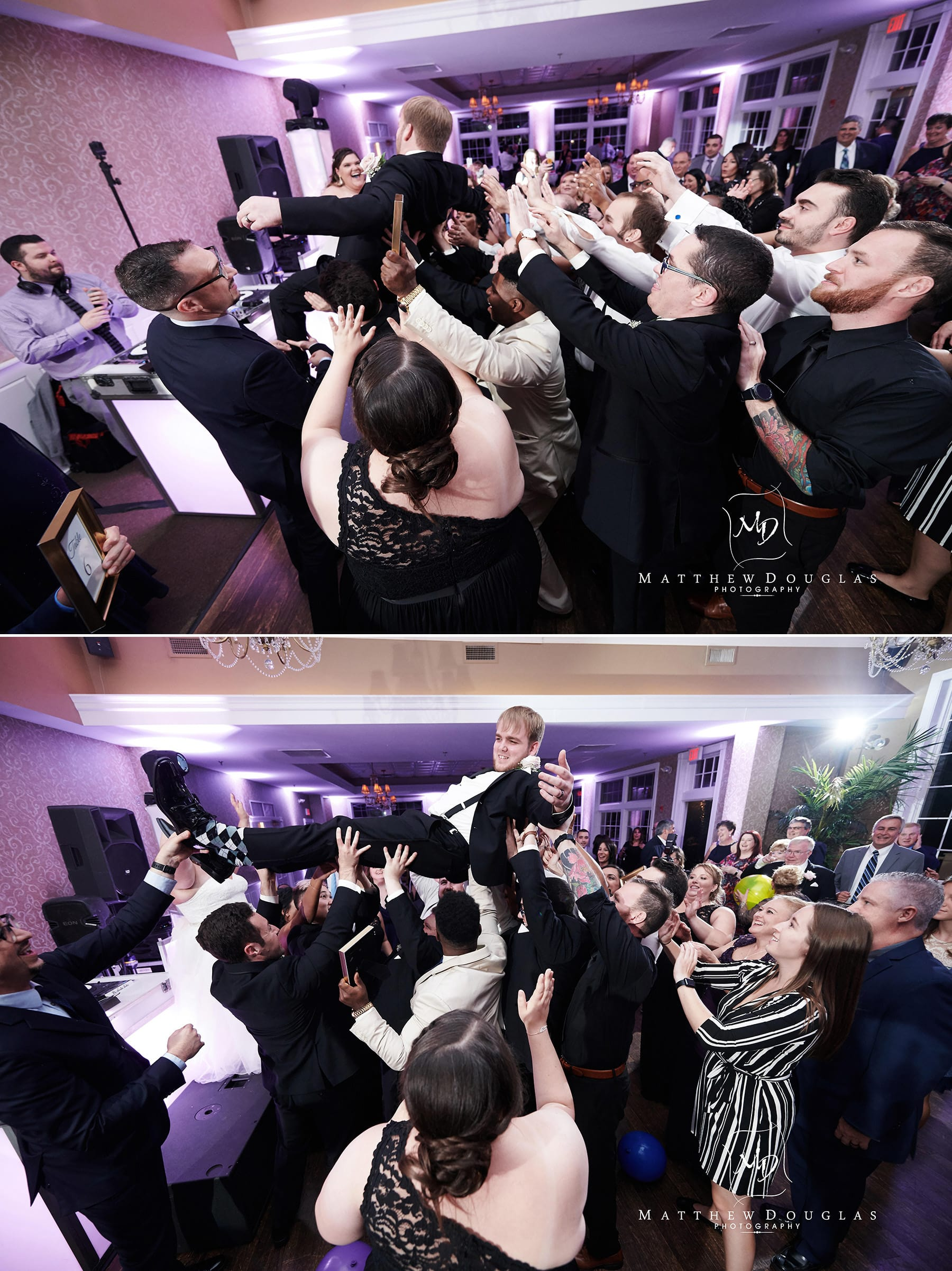 neshanic valley golf course wedding crowd surfing photos