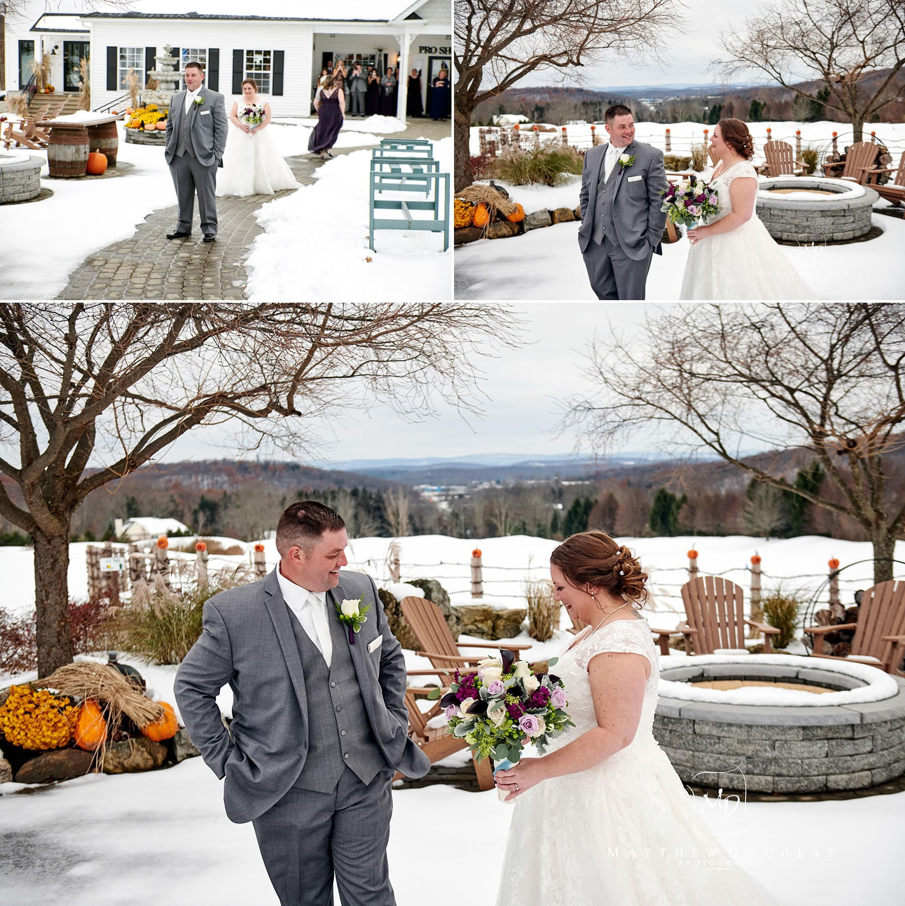 Skyview Golf club wedding first look photos