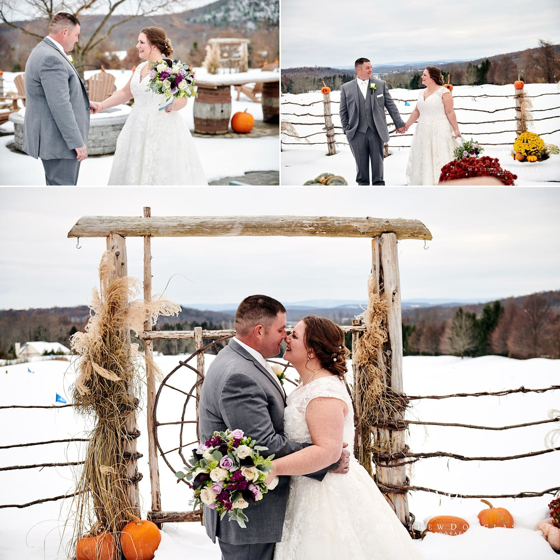 winter wedding photos at Skyview Golf club