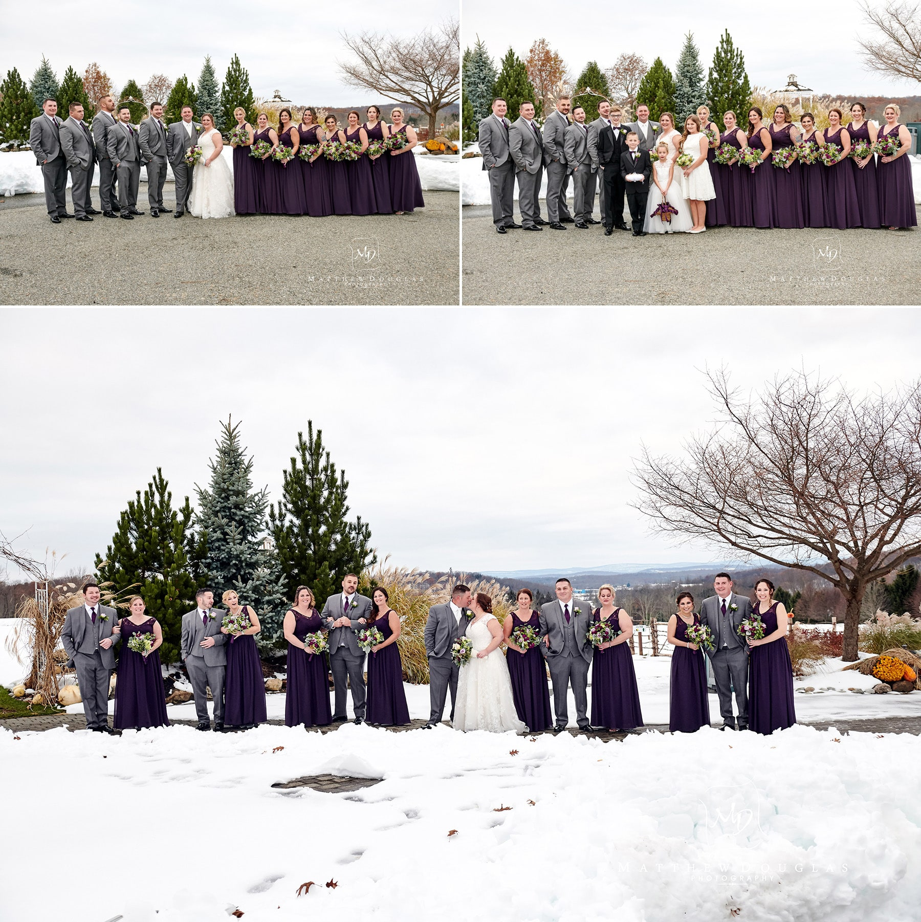 bridal party photo in the snow at Skyview Golf club