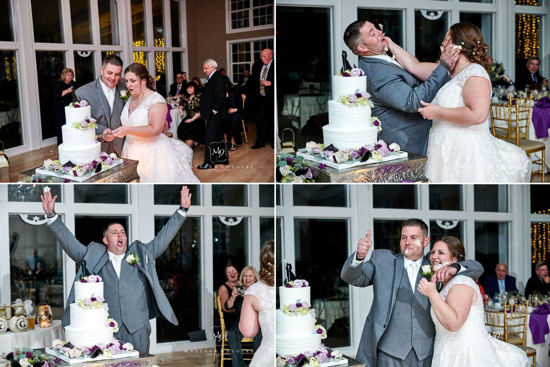 Skyview Golf club wedding cake cutting and smashing photos