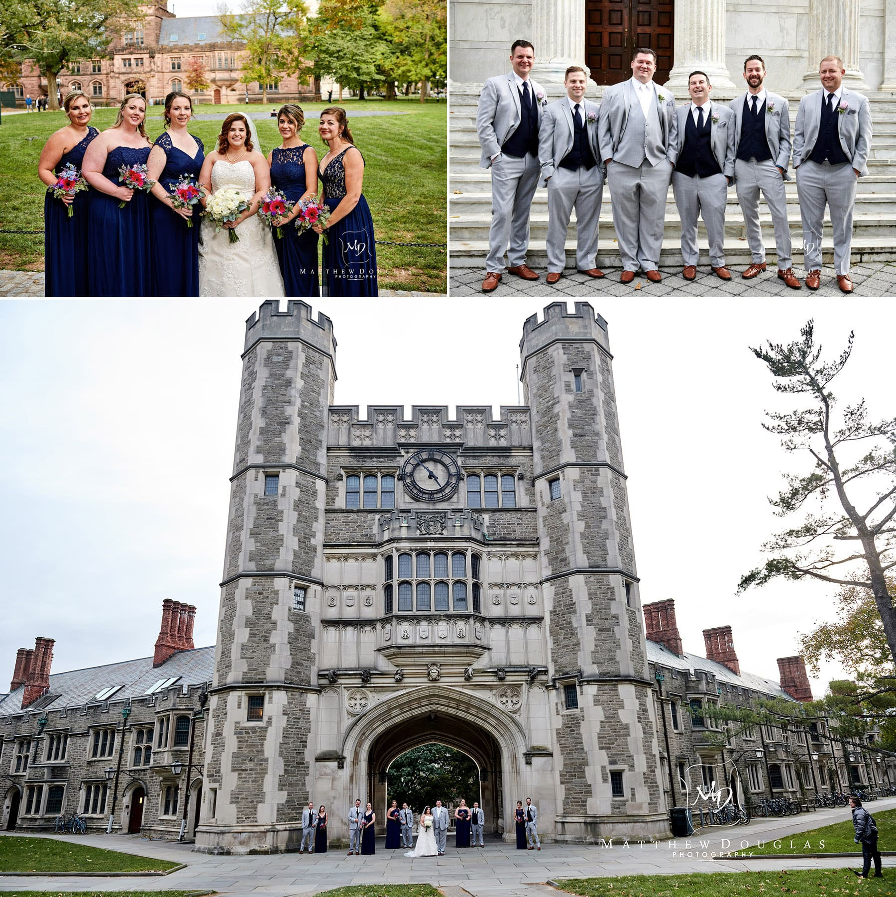 bridal party Princeton University wedding photo