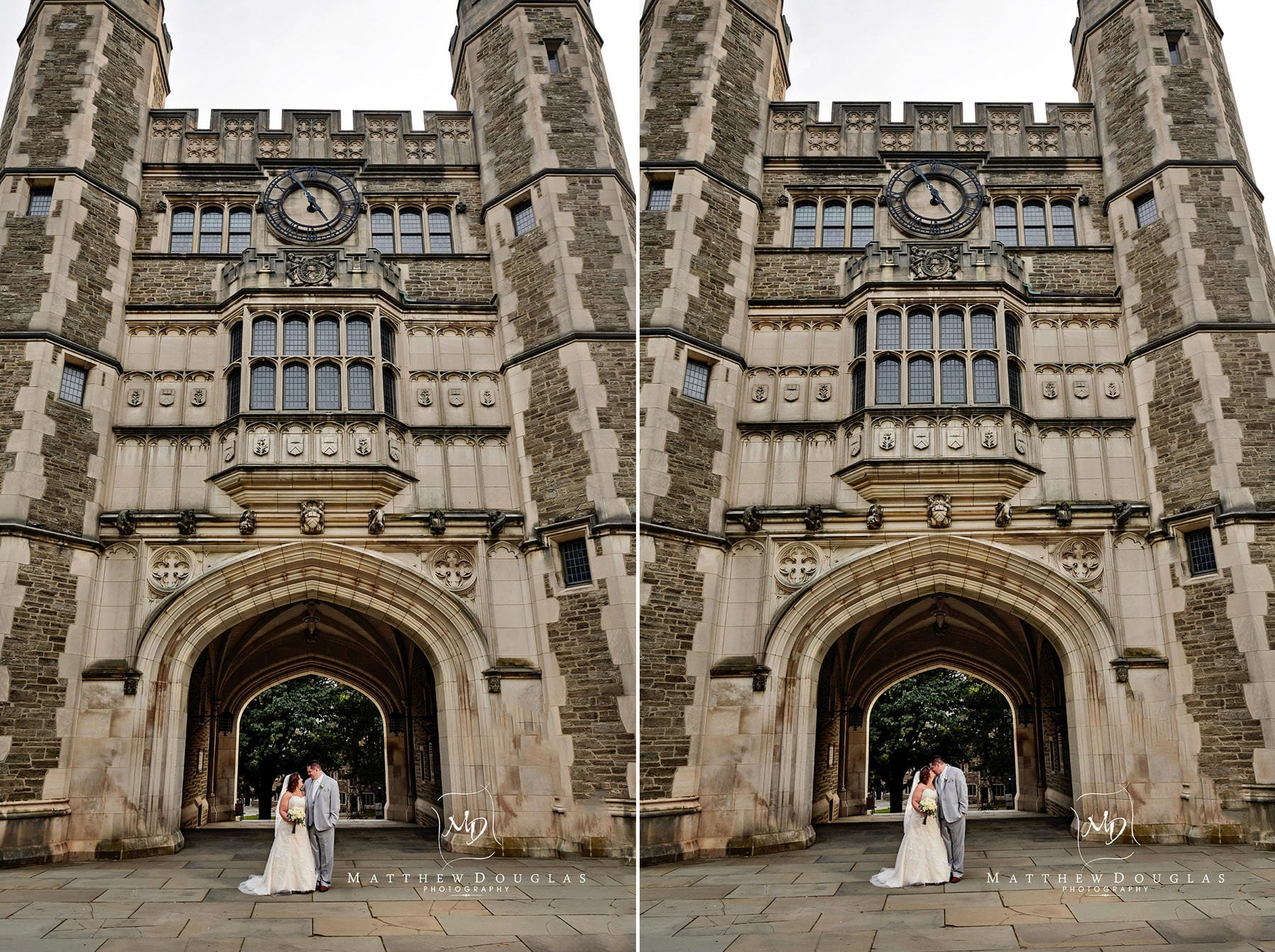 Princeton University wedding photo at clocktower