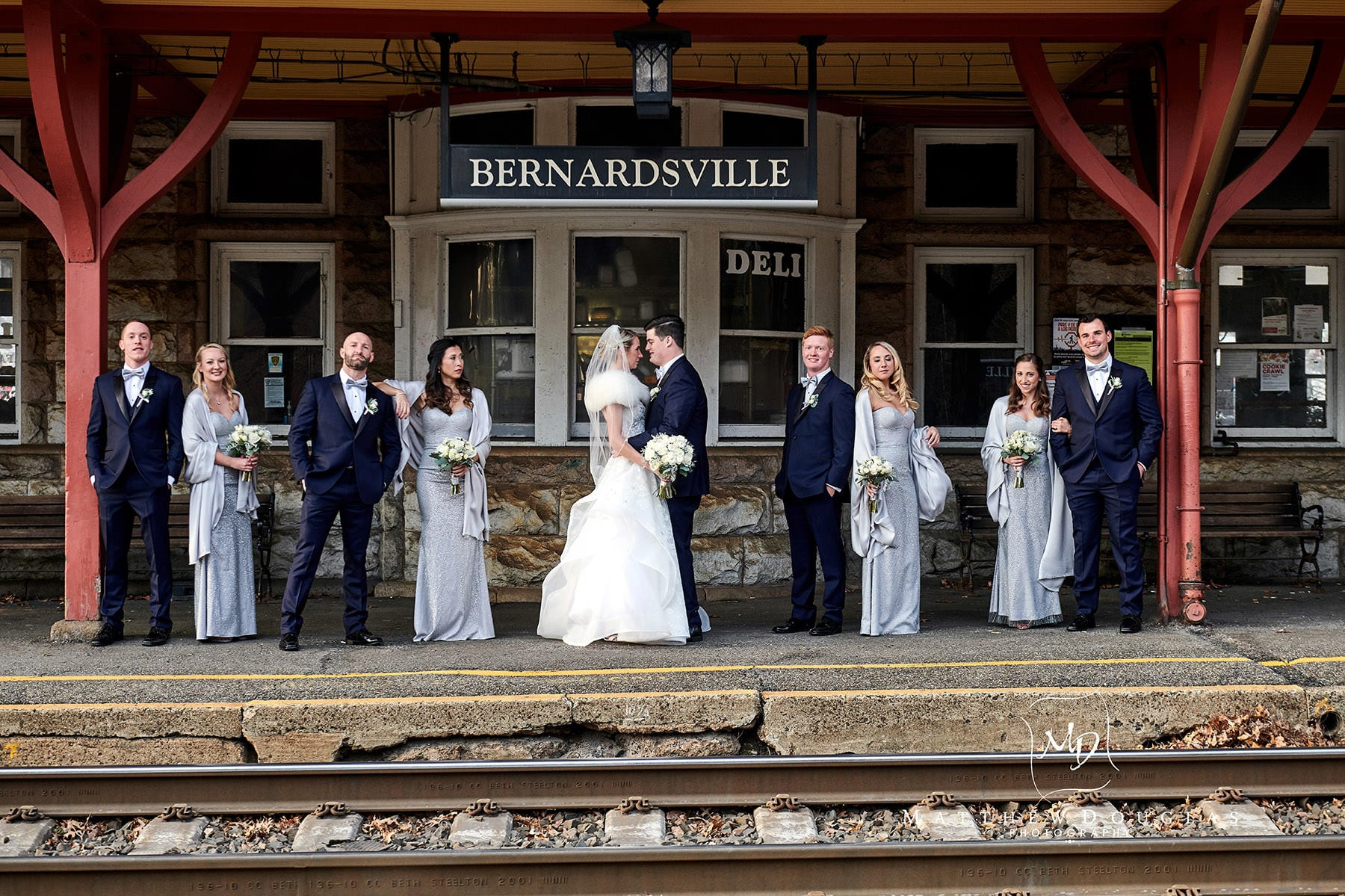 bridal party photo at bernardsville train station