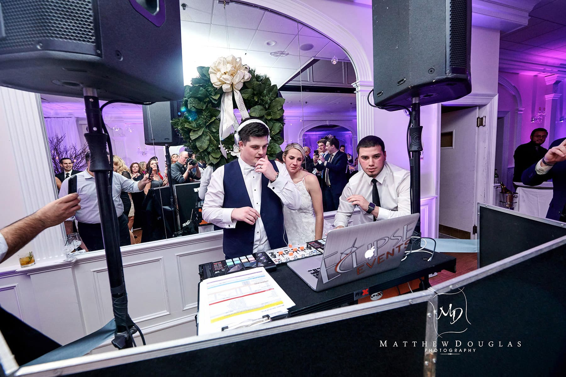 bride and groom djing photo at the bernards inn