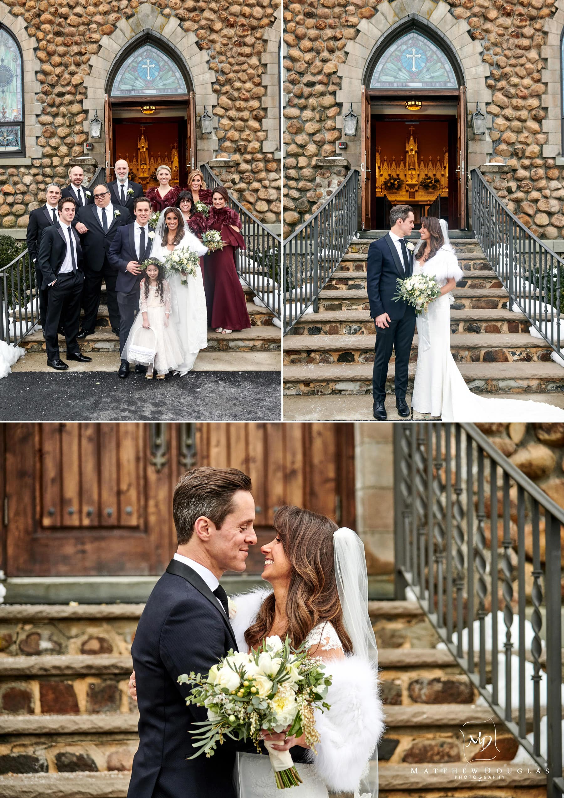 bridal party photos on church steps