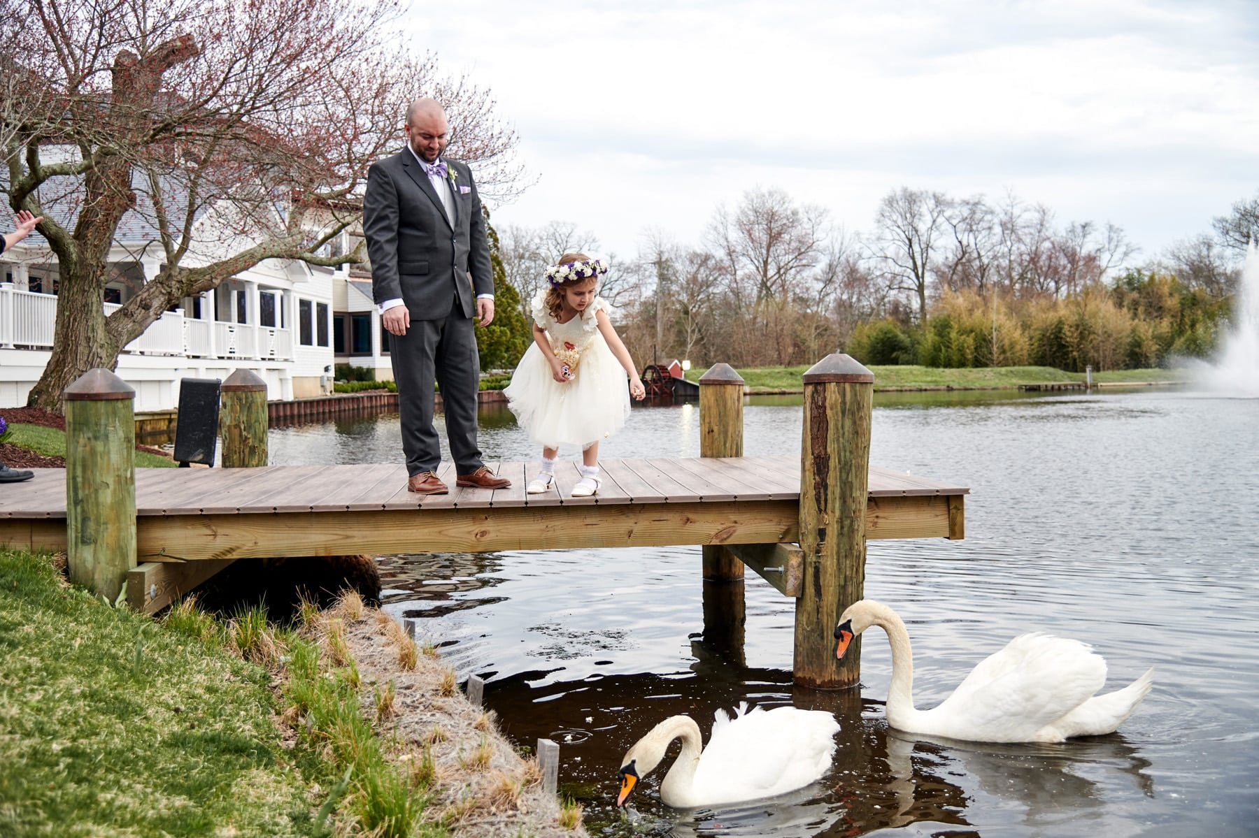 The Mill lakeside Manor swan wedding photo