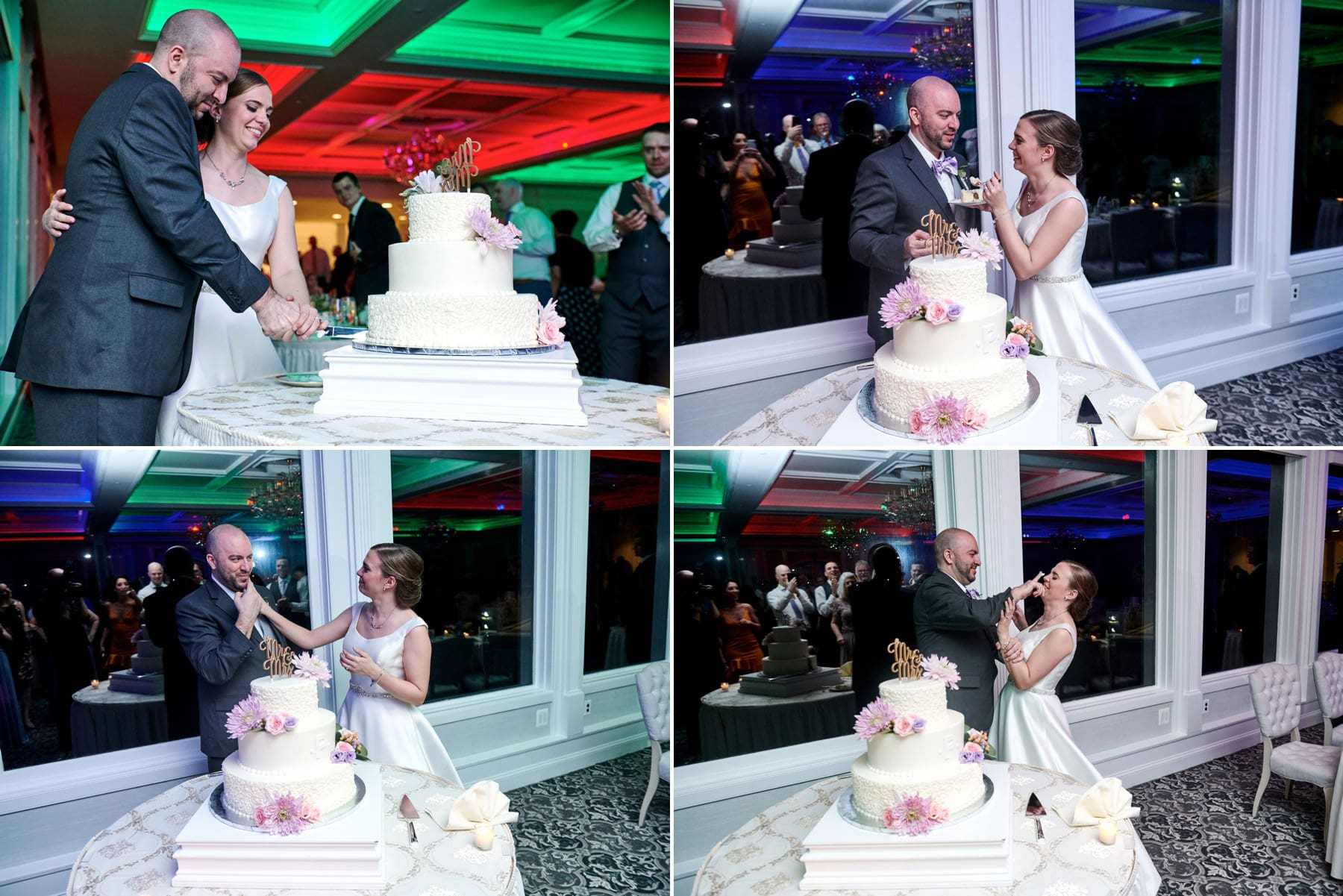 wedding cake cutting photos at The Mill lakeside Manor