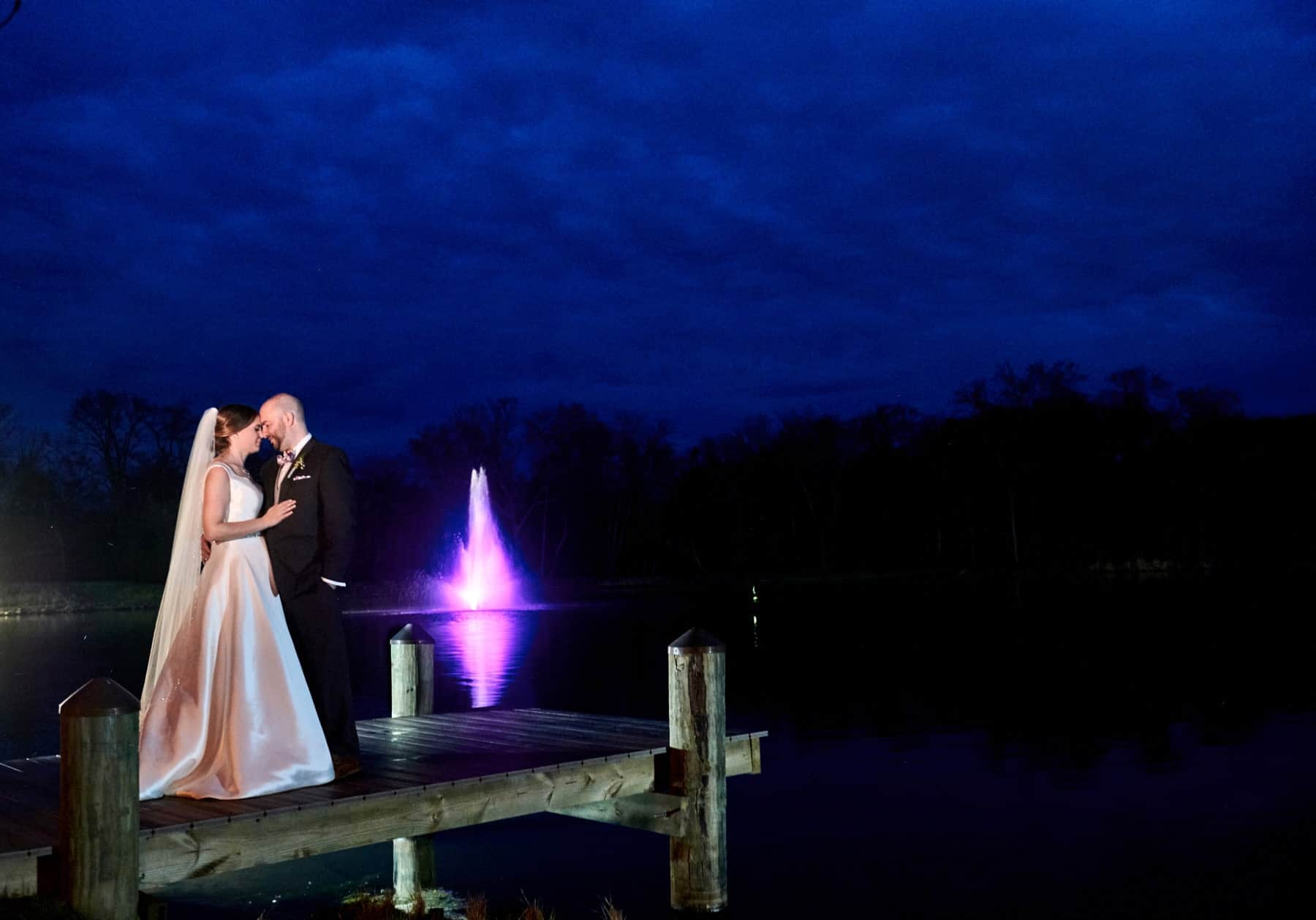 night wedding portrait at The Mill lakeside Manor