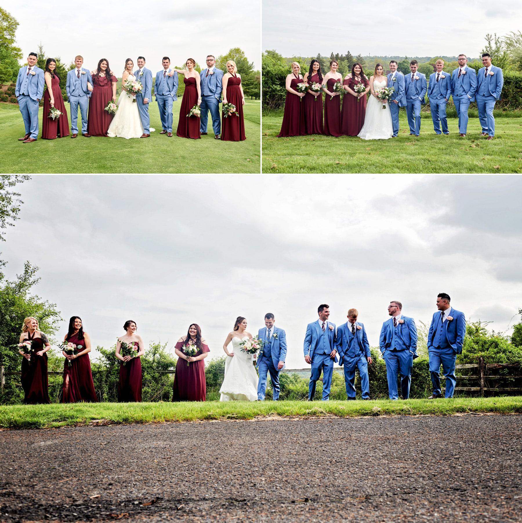 bridal party photos at basking ridge country club