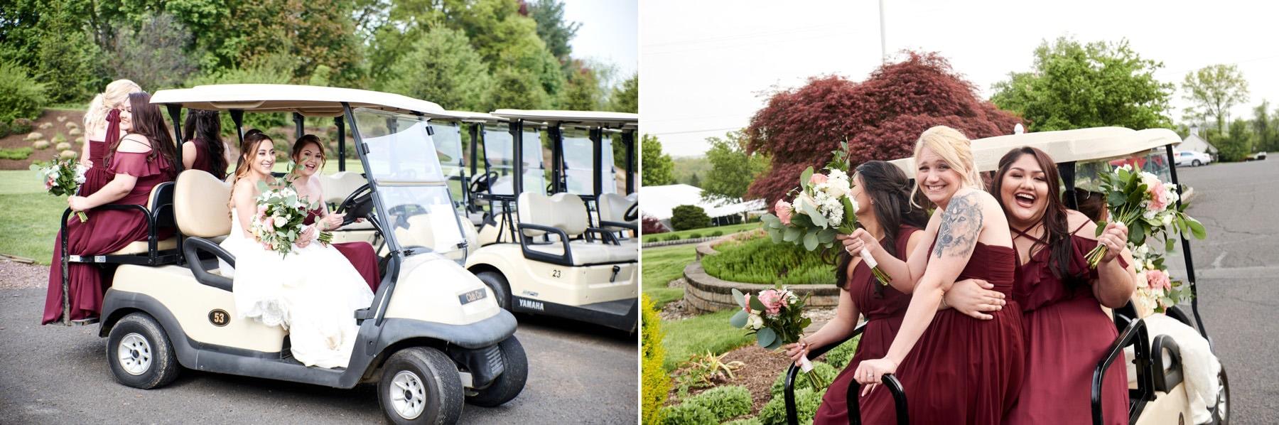 basking ridge country club wedding golf carts