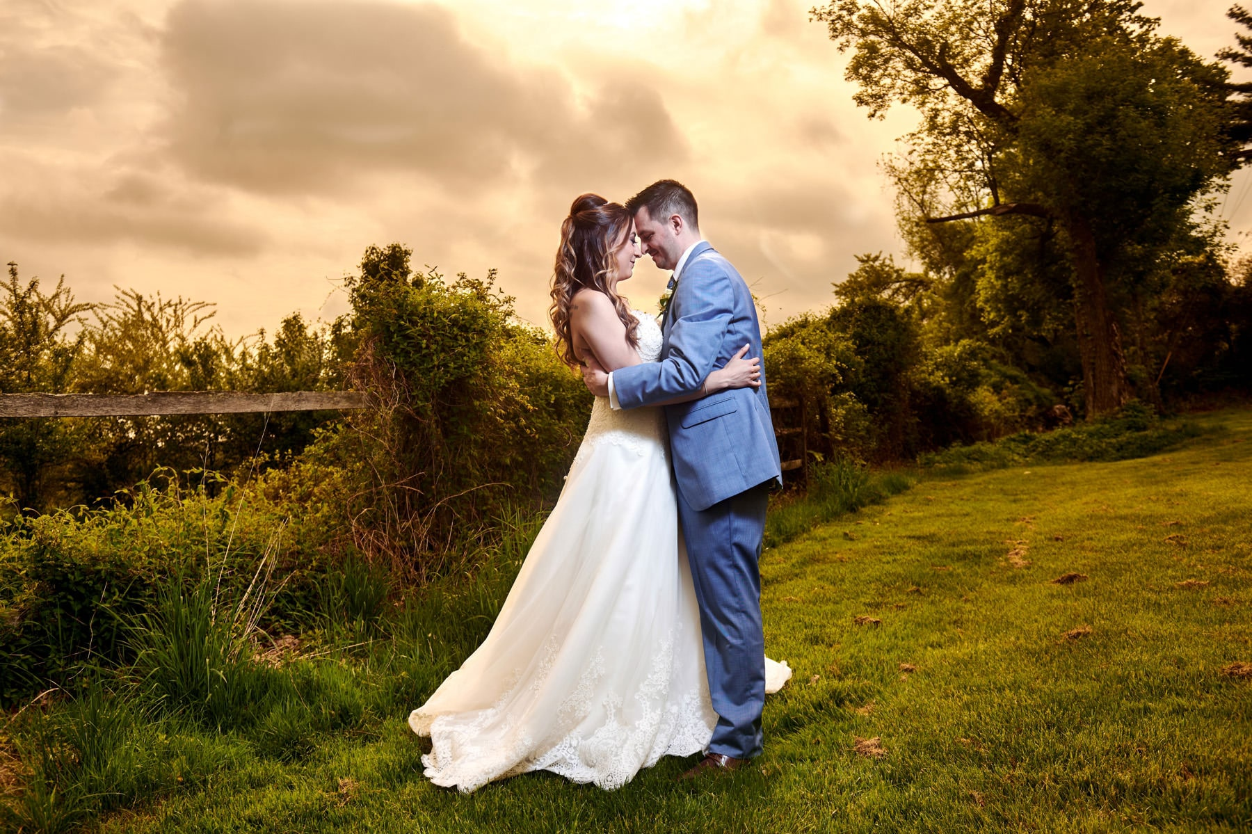 romantic wedding photo at basking ridge country club