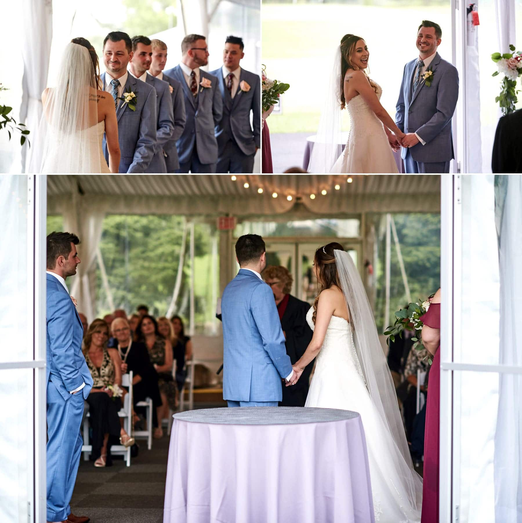 wedding ceremony under the tent at basking ridge country club