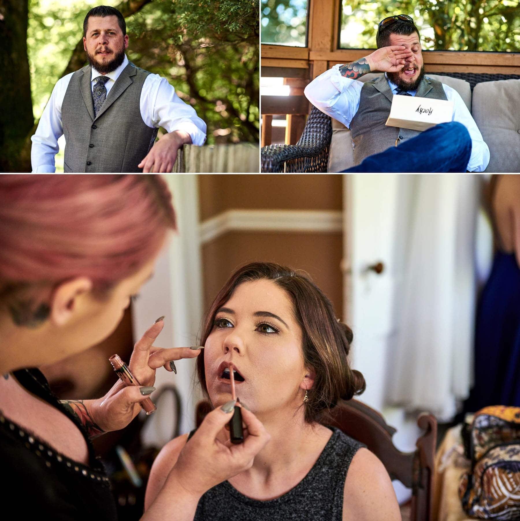 bride and groom getting ready photos for farm wedding