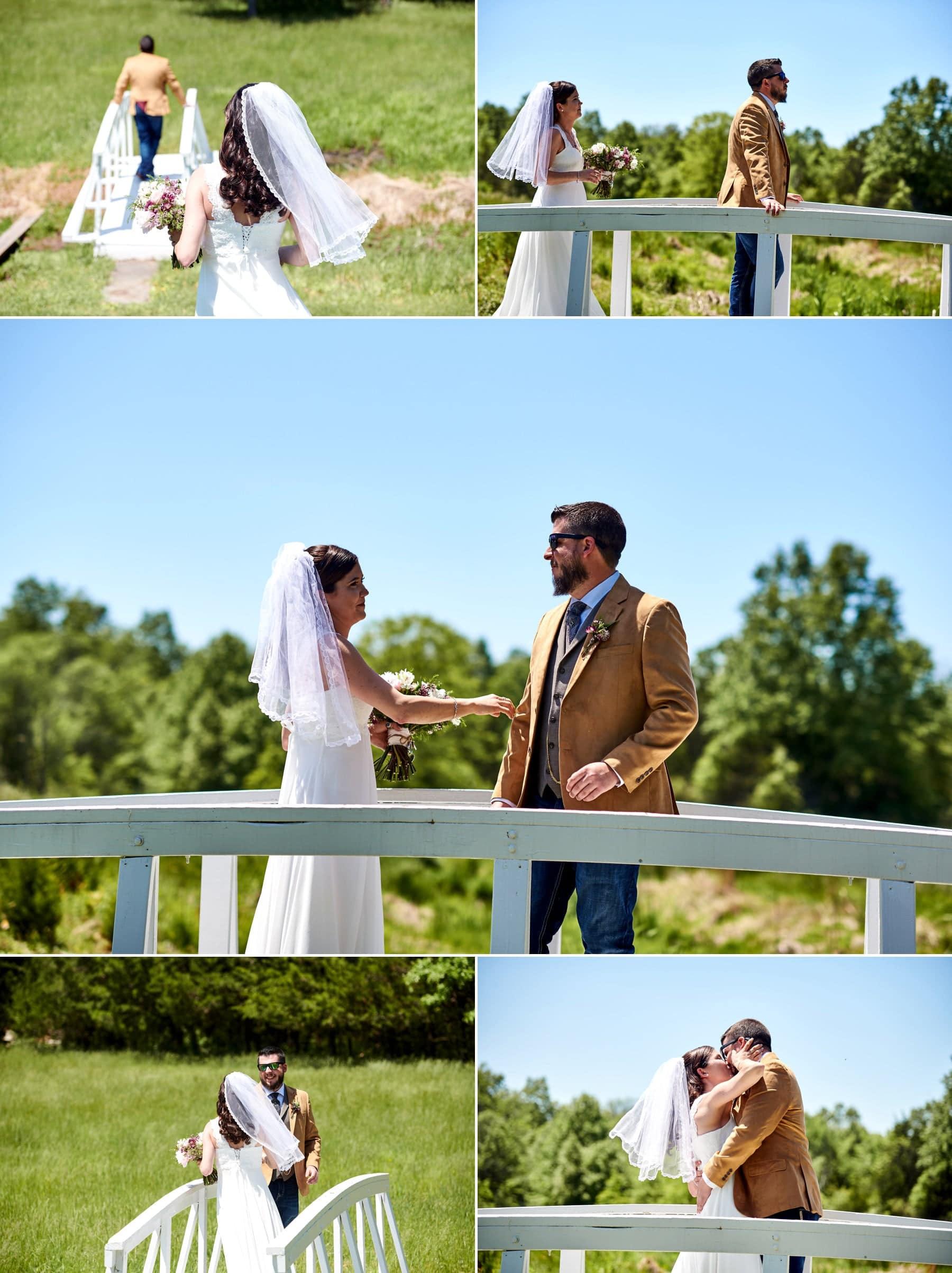 farm wedding first look photos