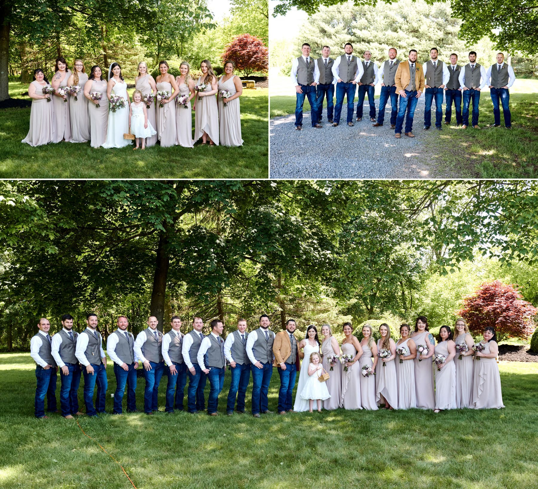 bridal party photos at the farm