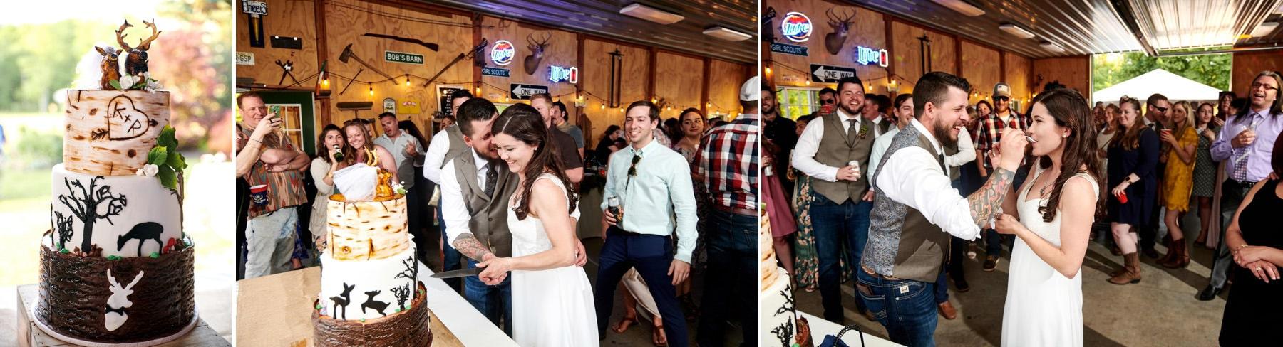 farm wedding cake cutting photos