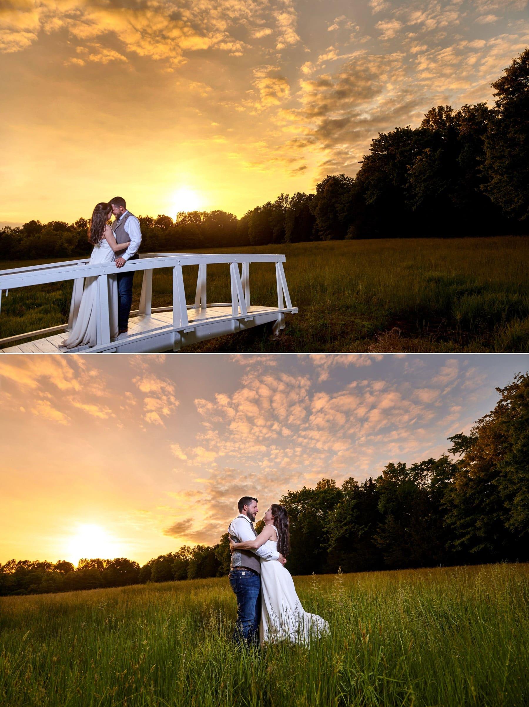 rustic farm wedding sunset photos