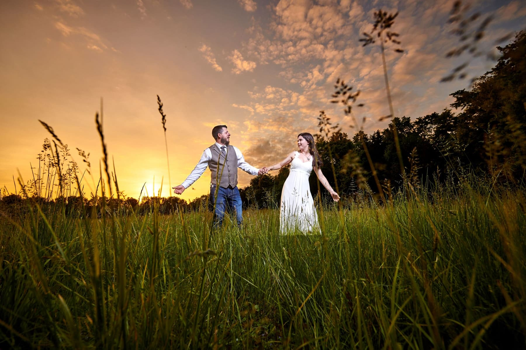sunset wedding photo on NJ farm