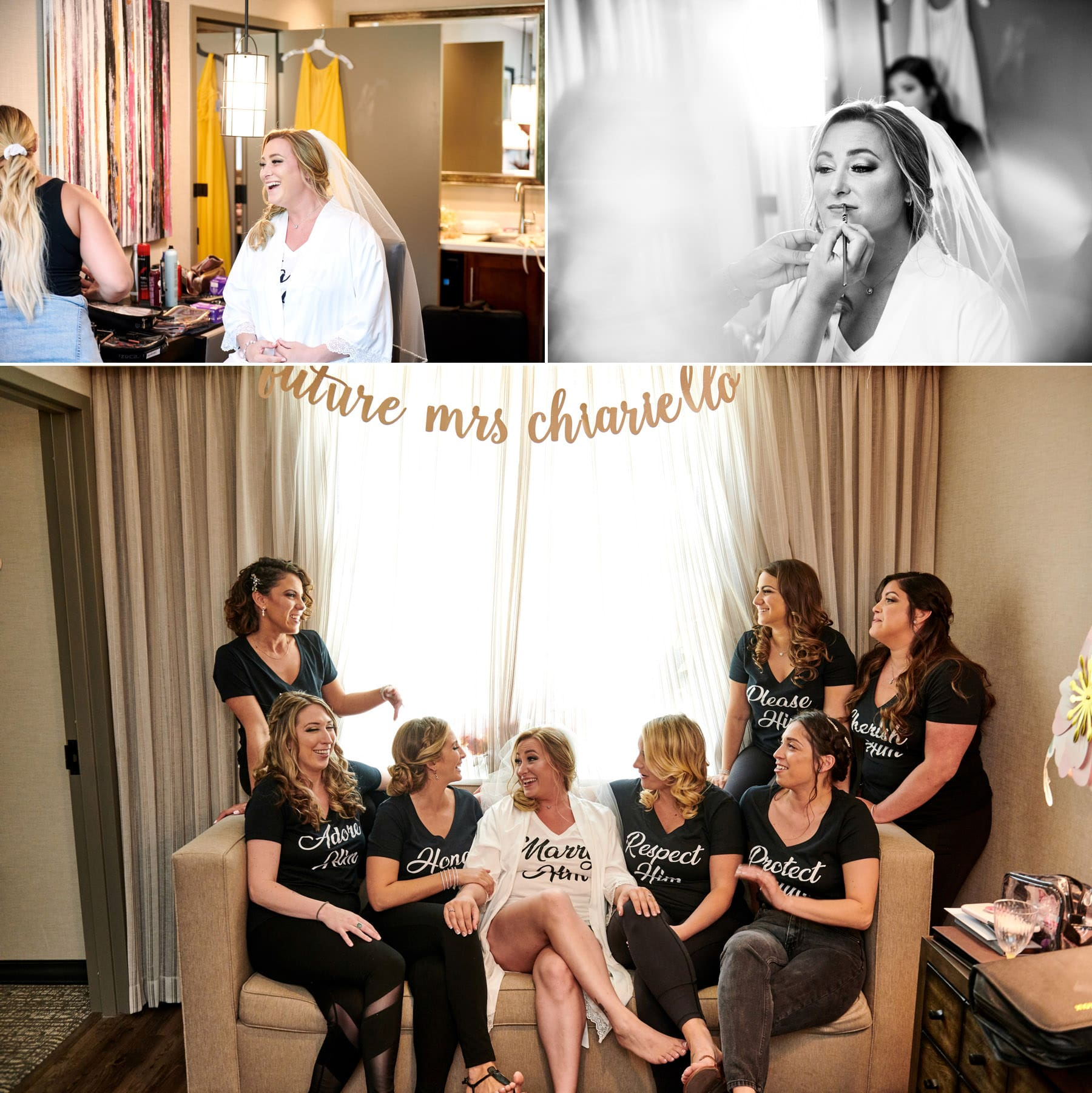 bride and bridesmaids getting ready photos