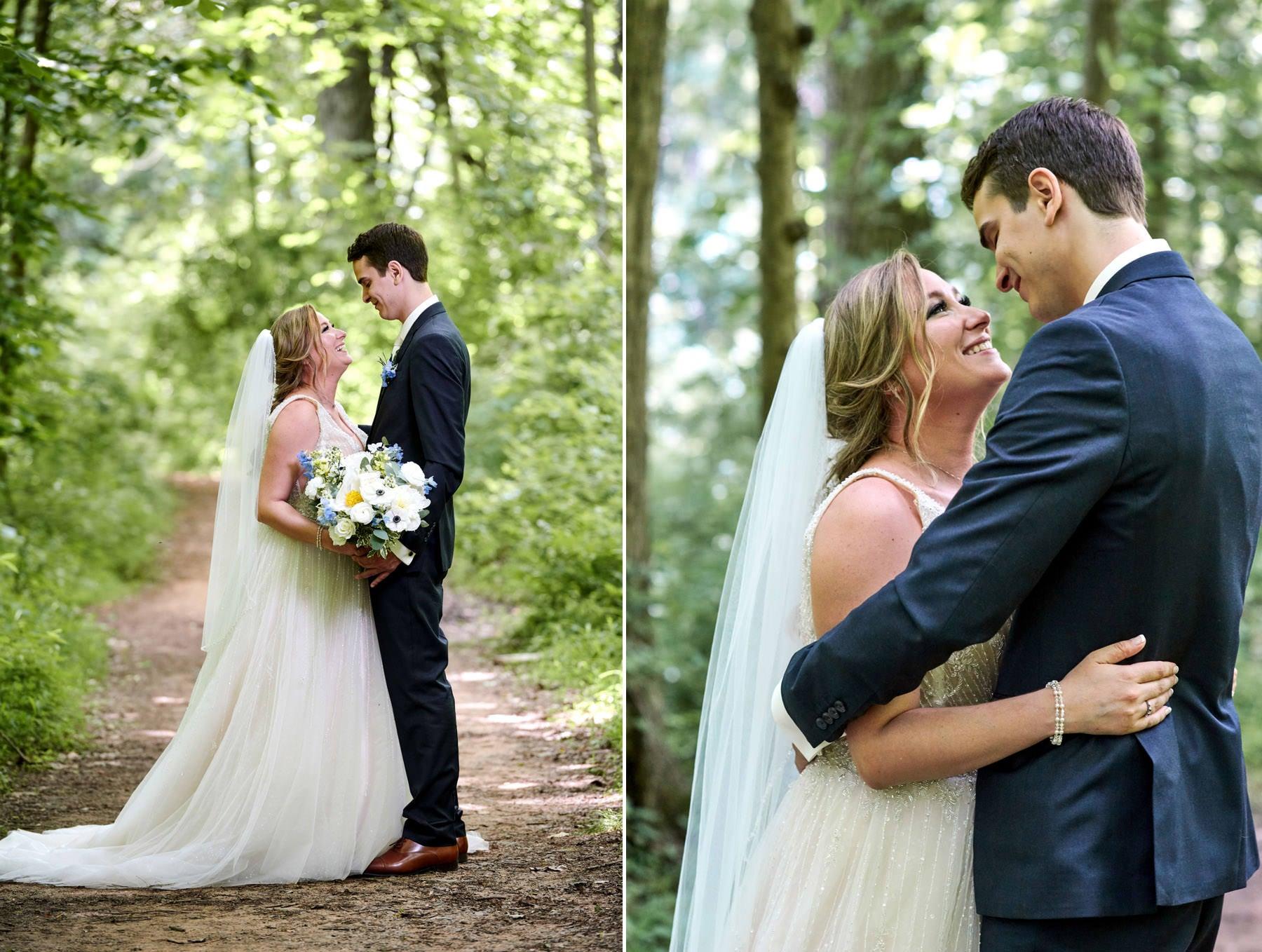 woodland path wedding photos at maskers barn