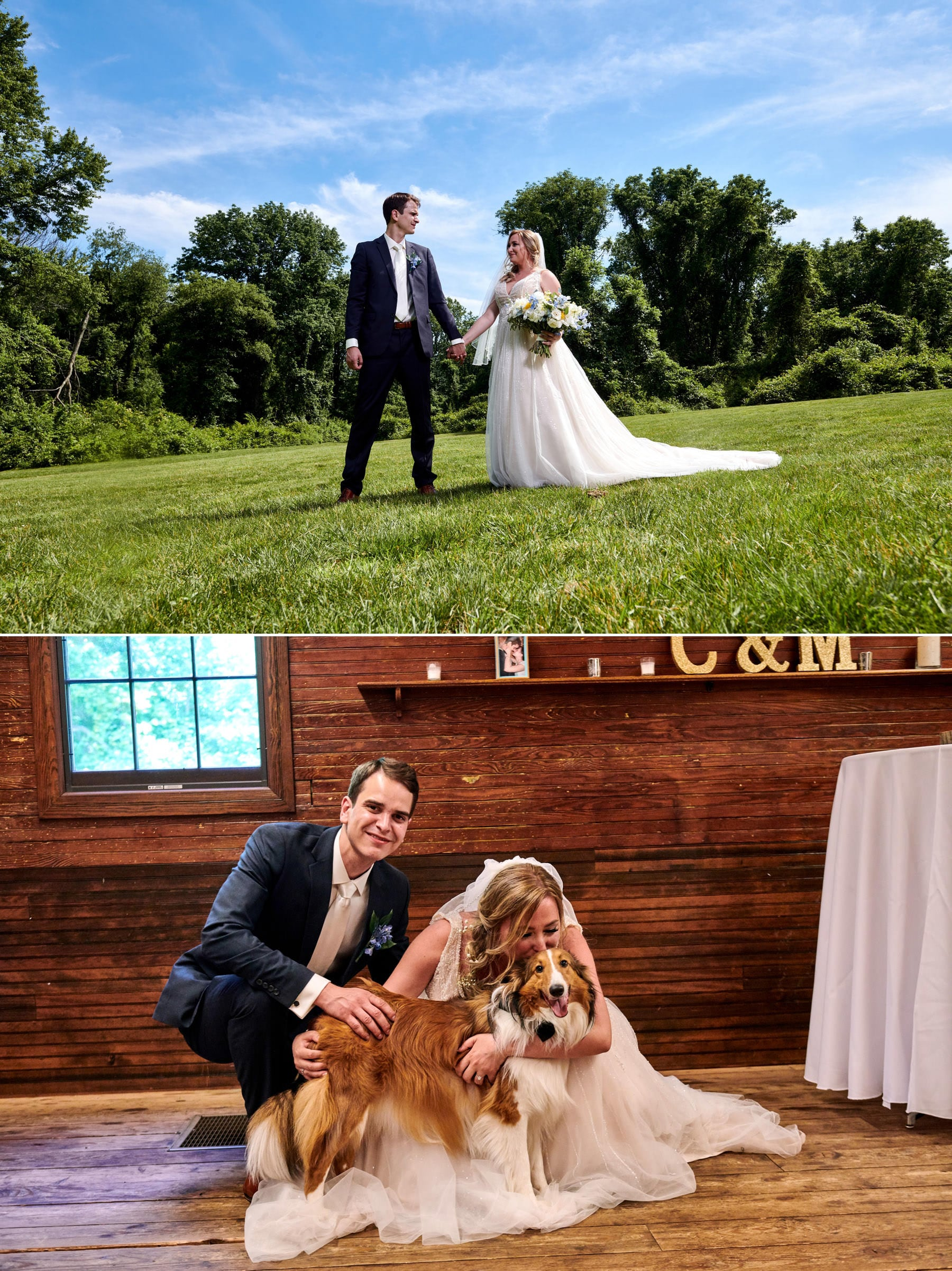bride and her dog at maskers barn