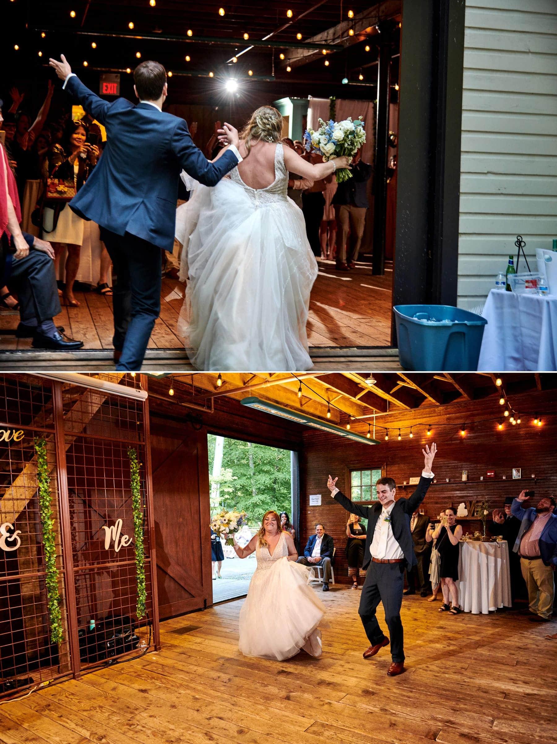wedding grand entrance at maskers barn