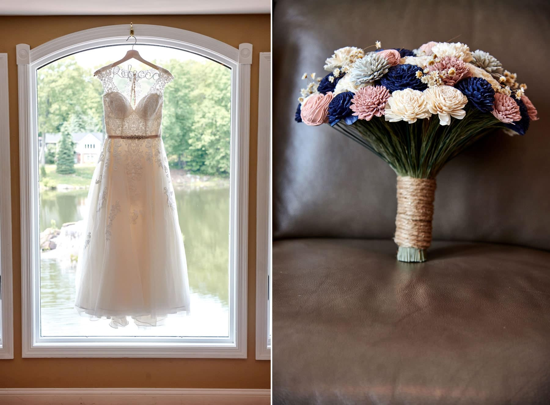 wedding dress and flowers photos at Rock Island Lake Club