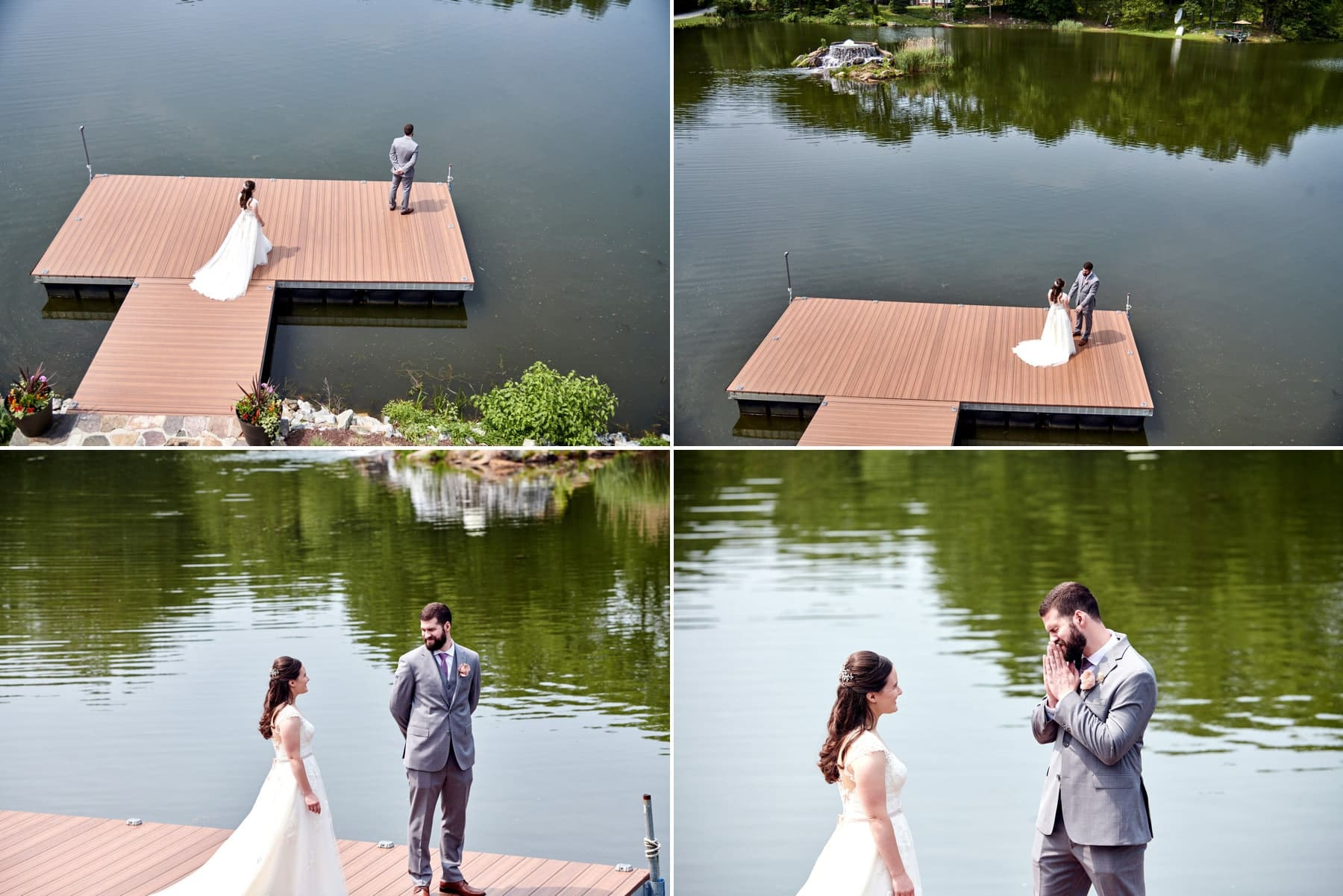 first look wedding photos at Rock Island Lake Club