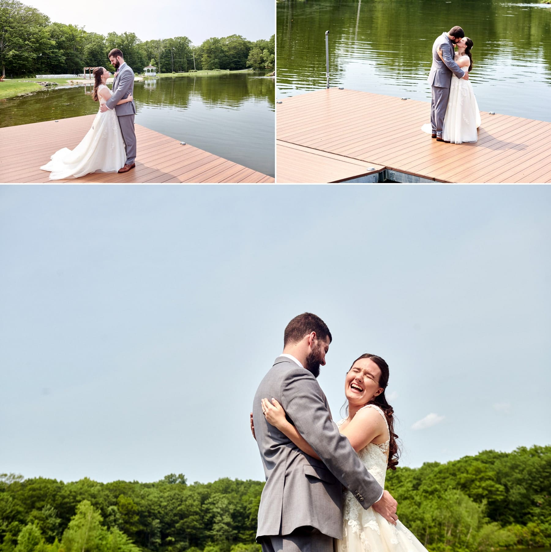 bride and groom on the dock of Rock Island Lake Club at their wedding