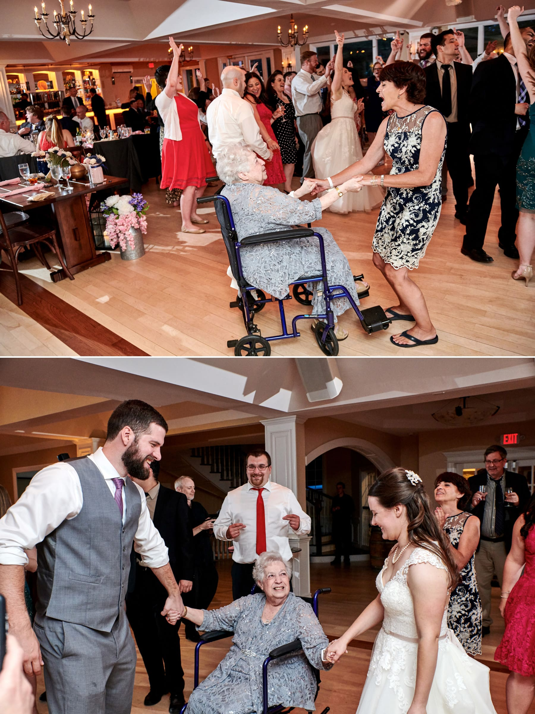 bride dancing with grandma at Rock Island Lake Club