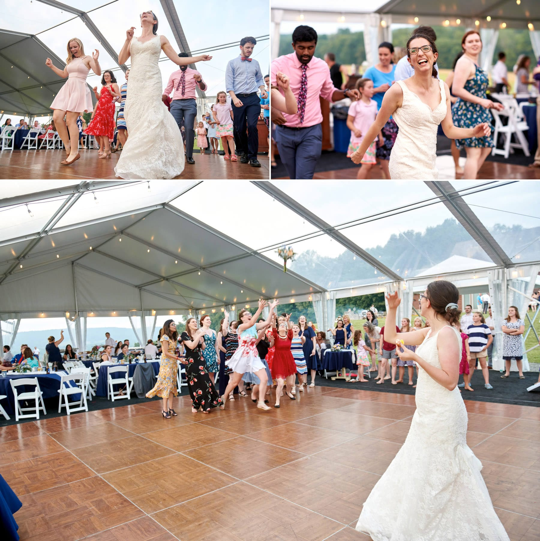 bride dancing at born to run farm