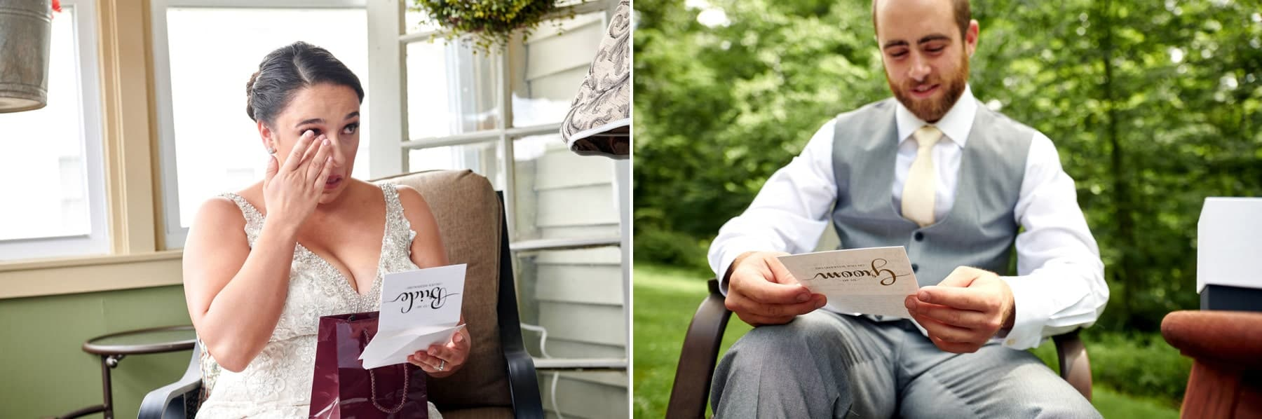 photo of bride and groom reading notes from each other
