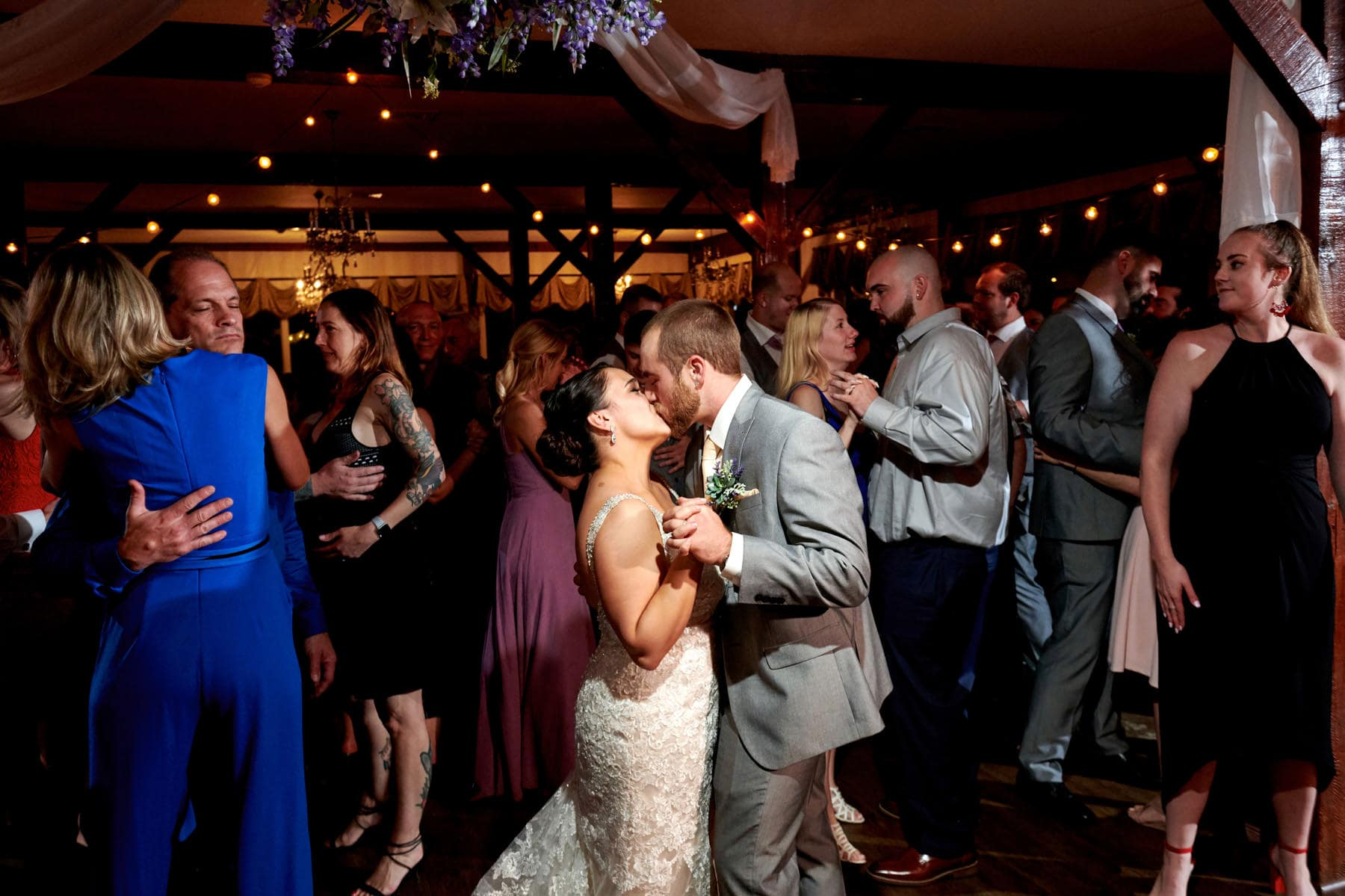 bride and groom on the dancefloor at farmstead golf club
