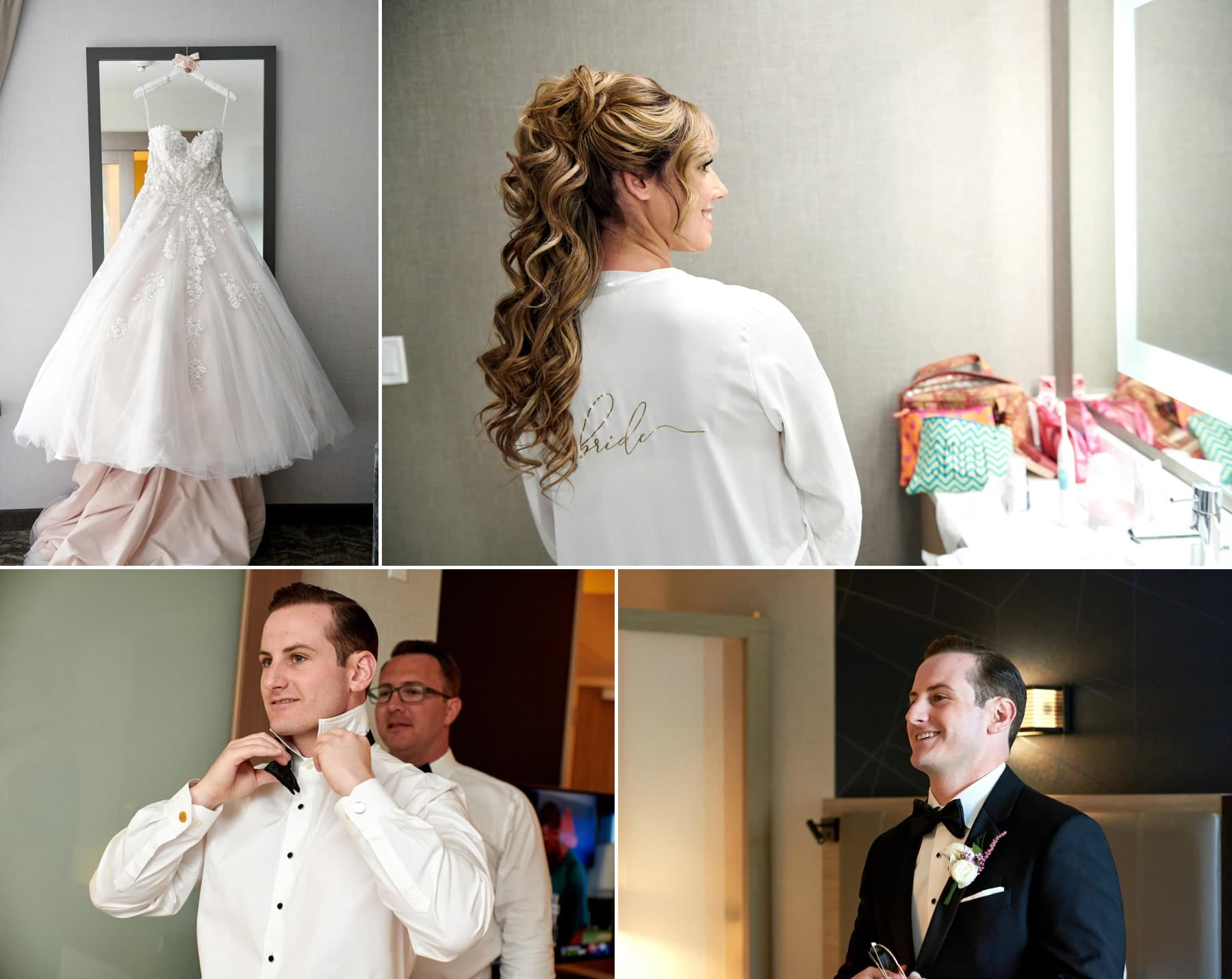 bride and groom getting ready photos