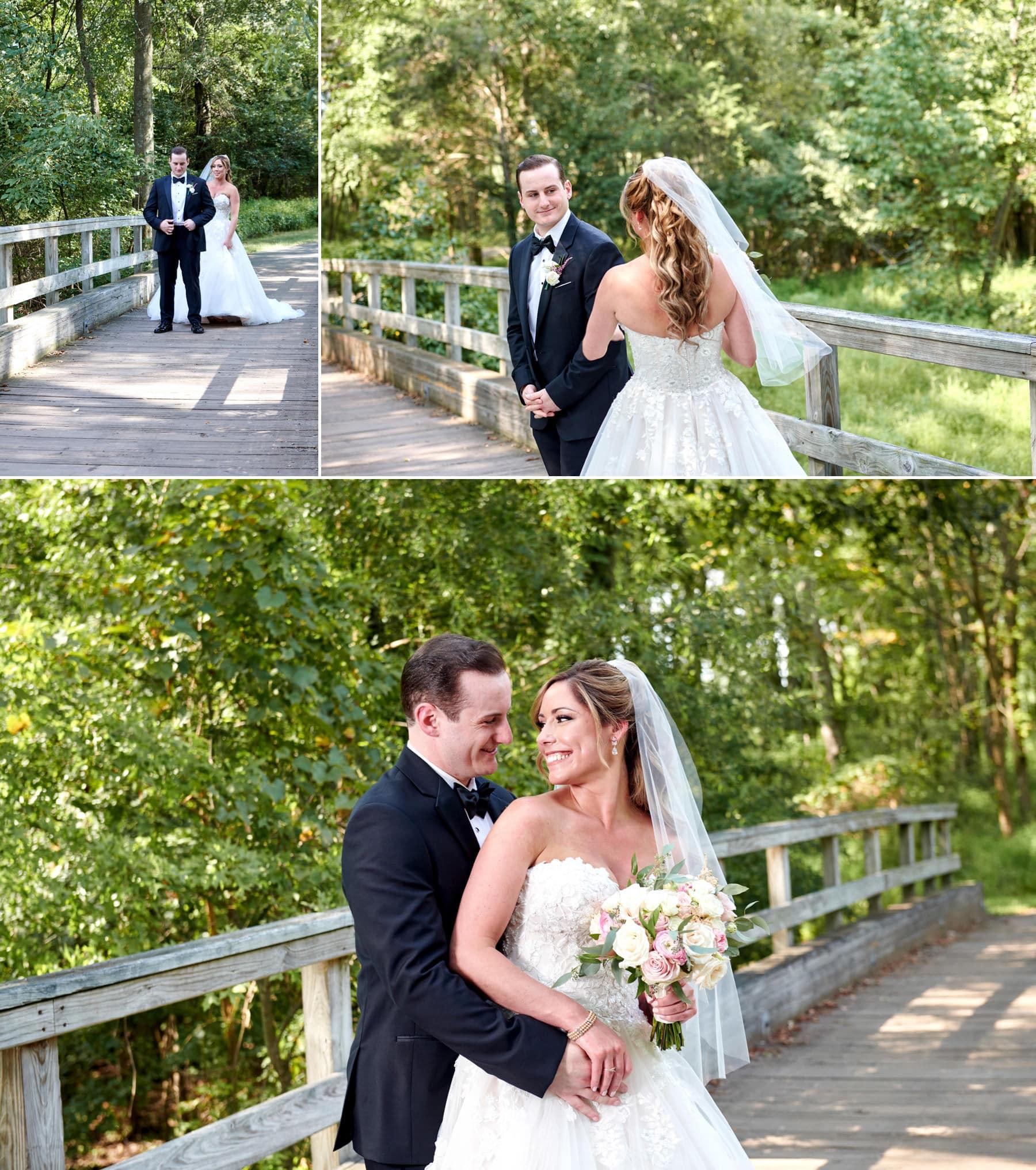wedding first look photos at Royce Brook Golf Club