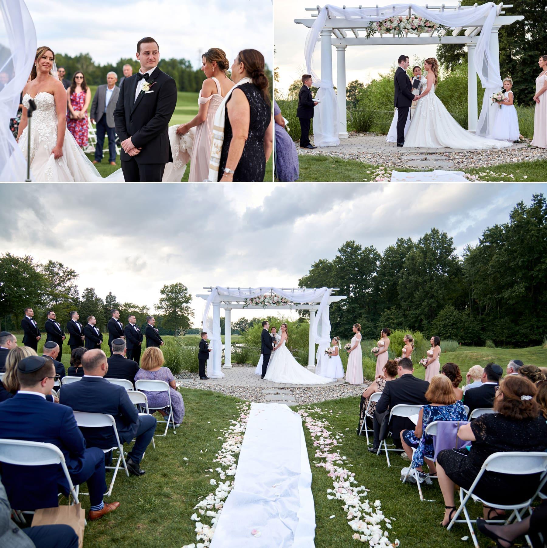 outdoor wedding ceremony photos at Royce Brook Golf Club