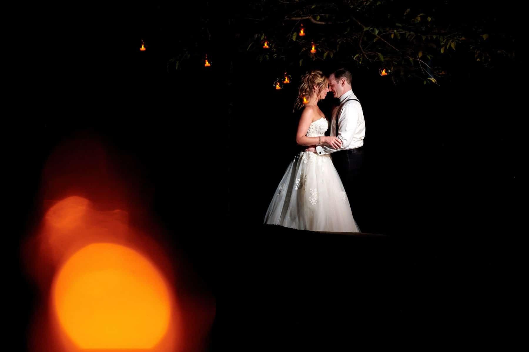 night wedding portrait at Royce Brook Golf Club
