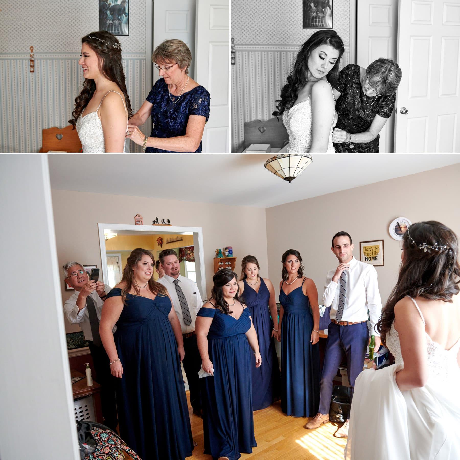 bride getting dressed photos