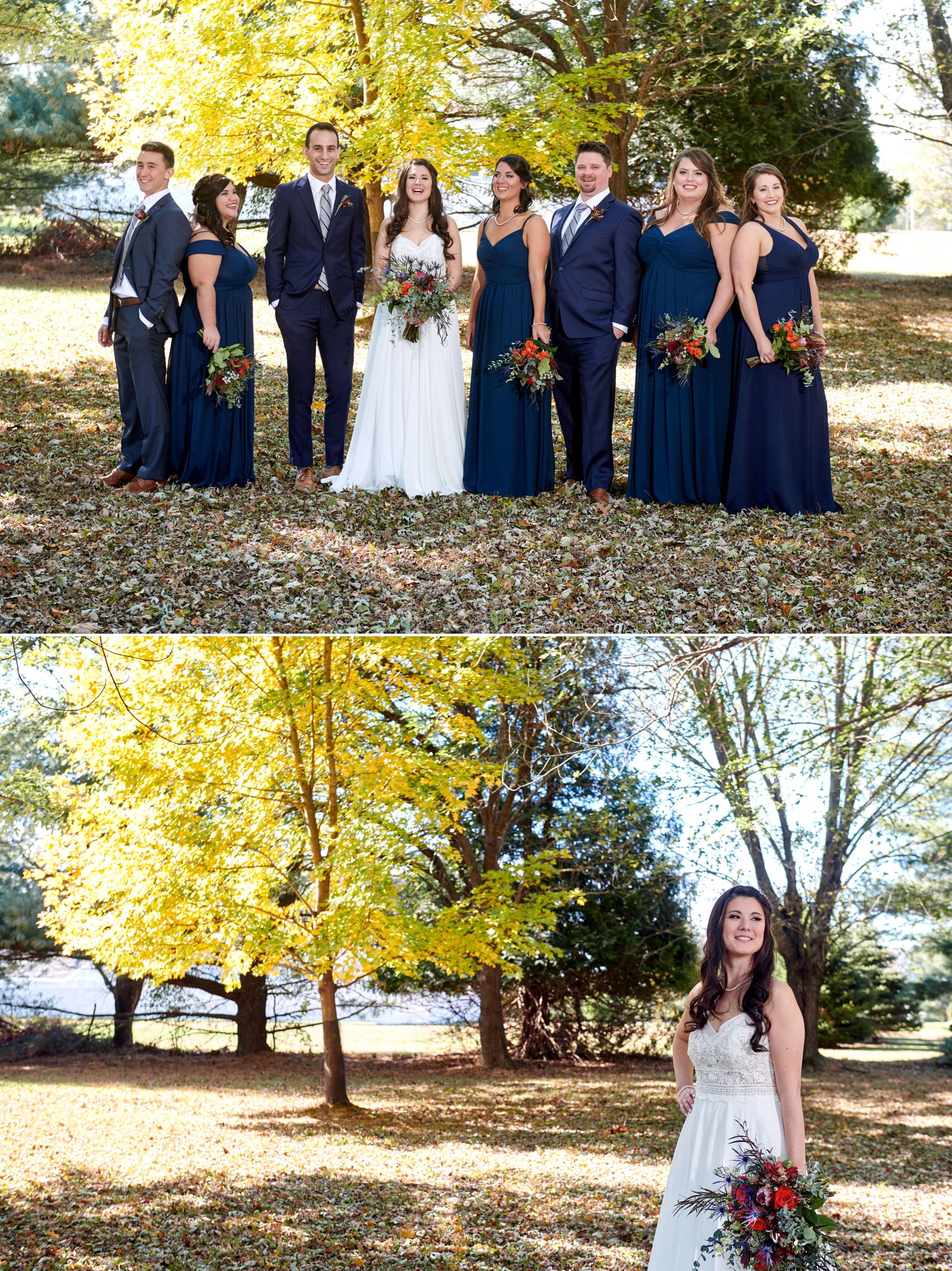 fall bride photos at home