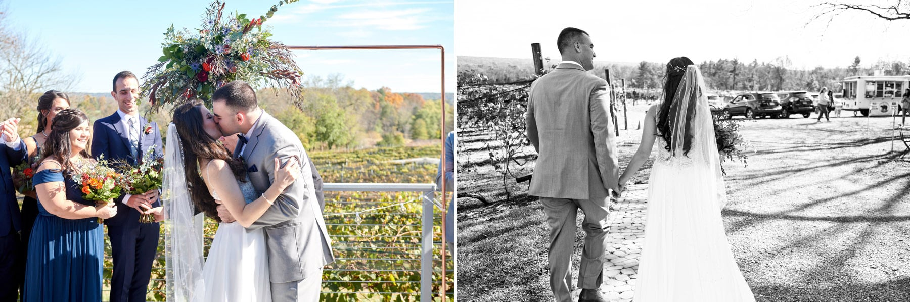 wedding first kiss photos at old york cellars