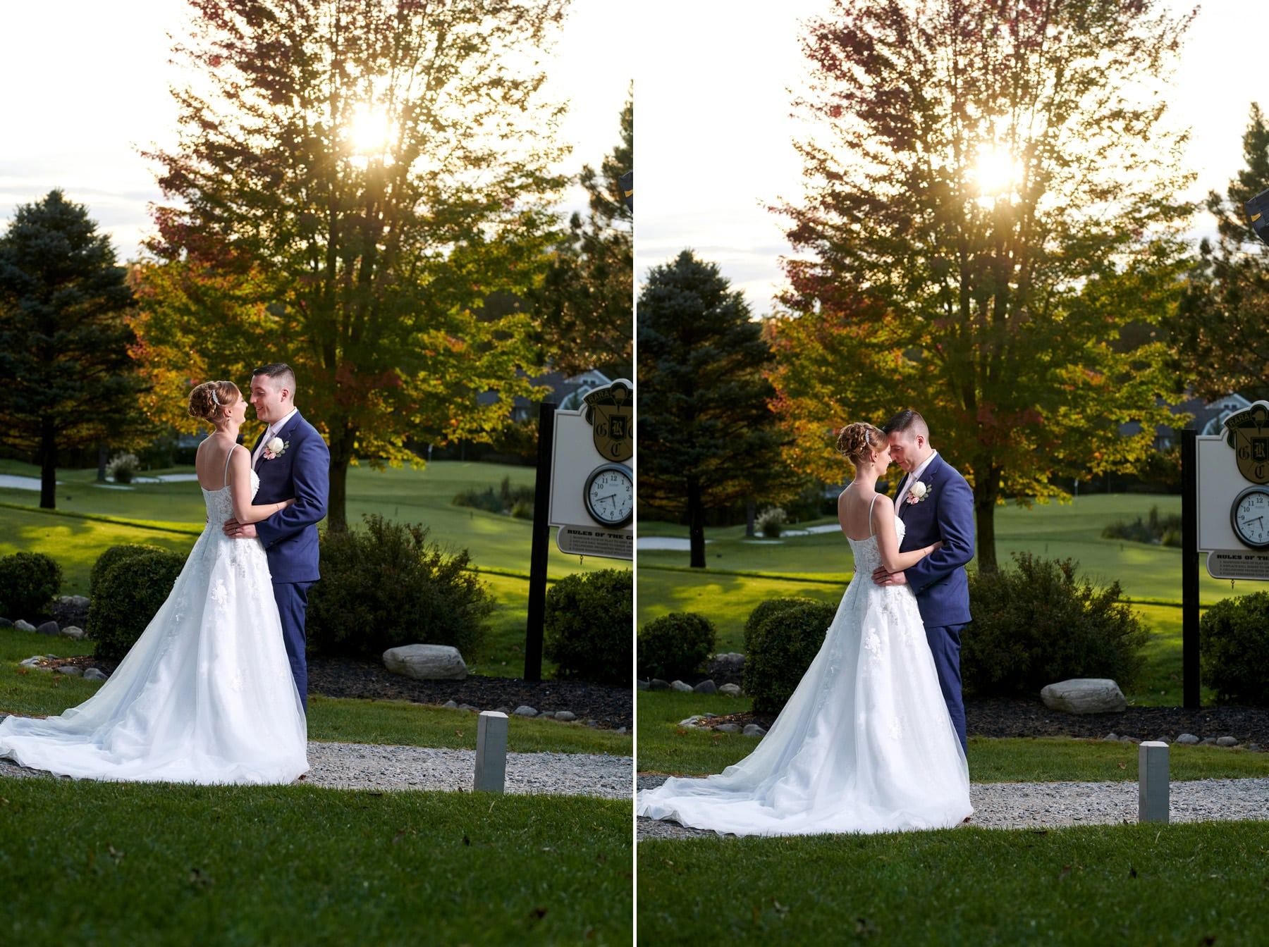 sunset wedding photos at ramsey country club