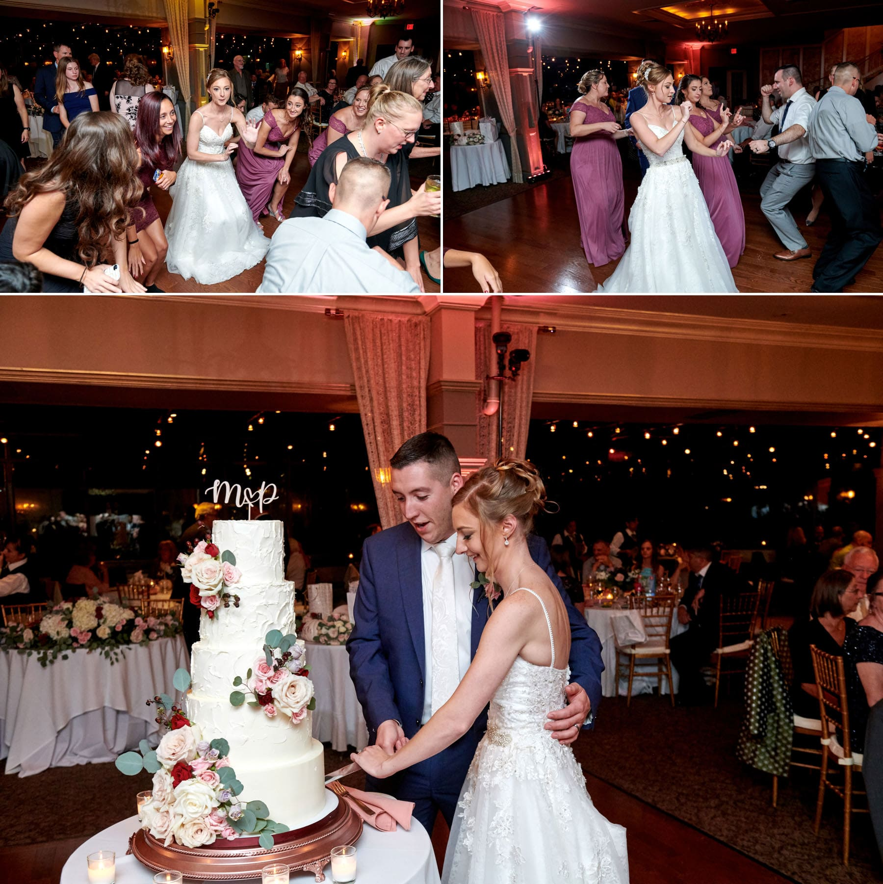 wedding cake cutting photos at ramsey country club