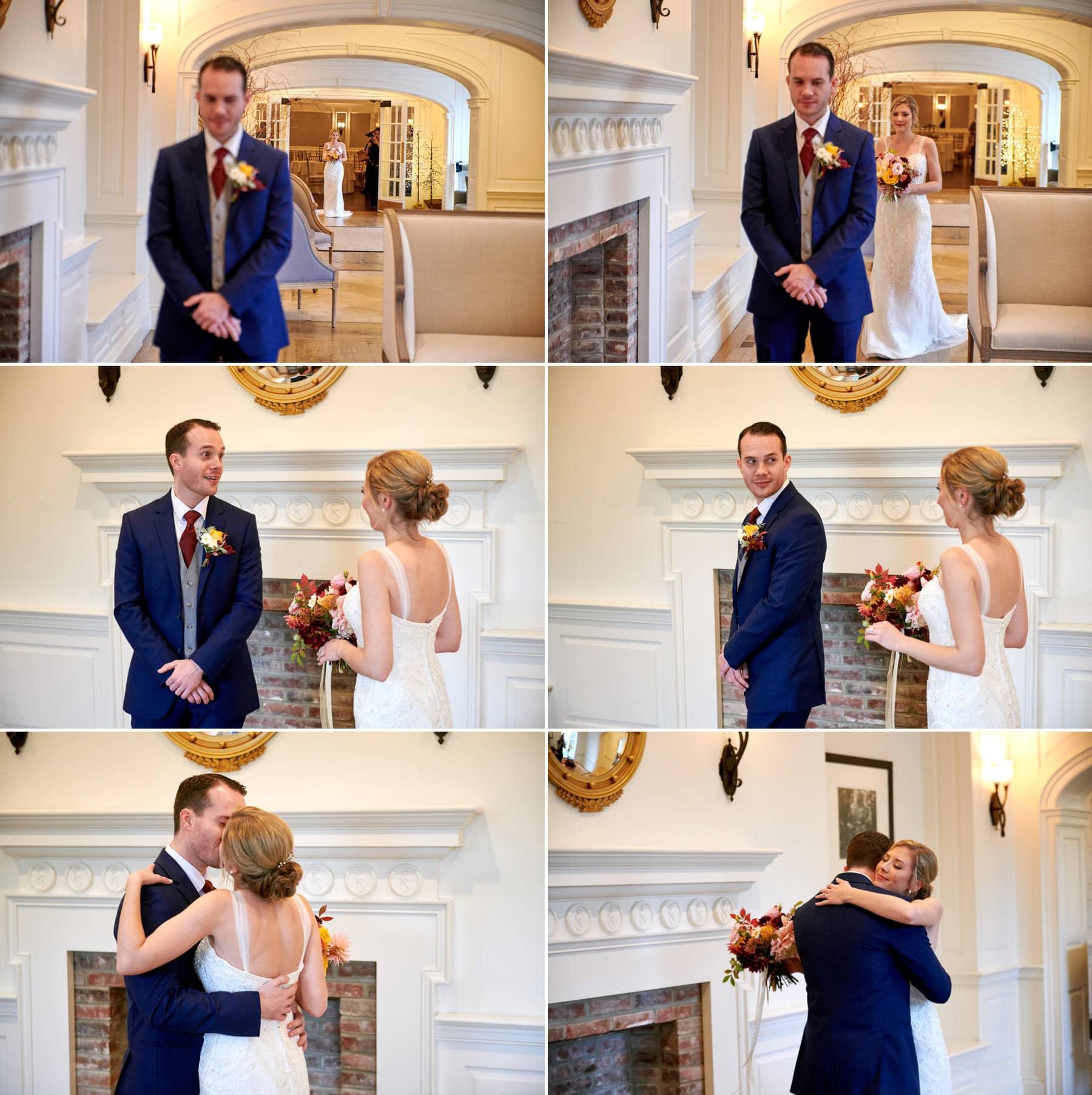 wedding first look photos at French Creek Golf Club