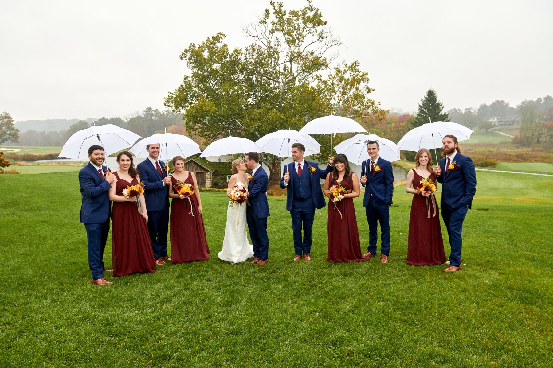 rainy day wedding photo at French Creek Golf Club