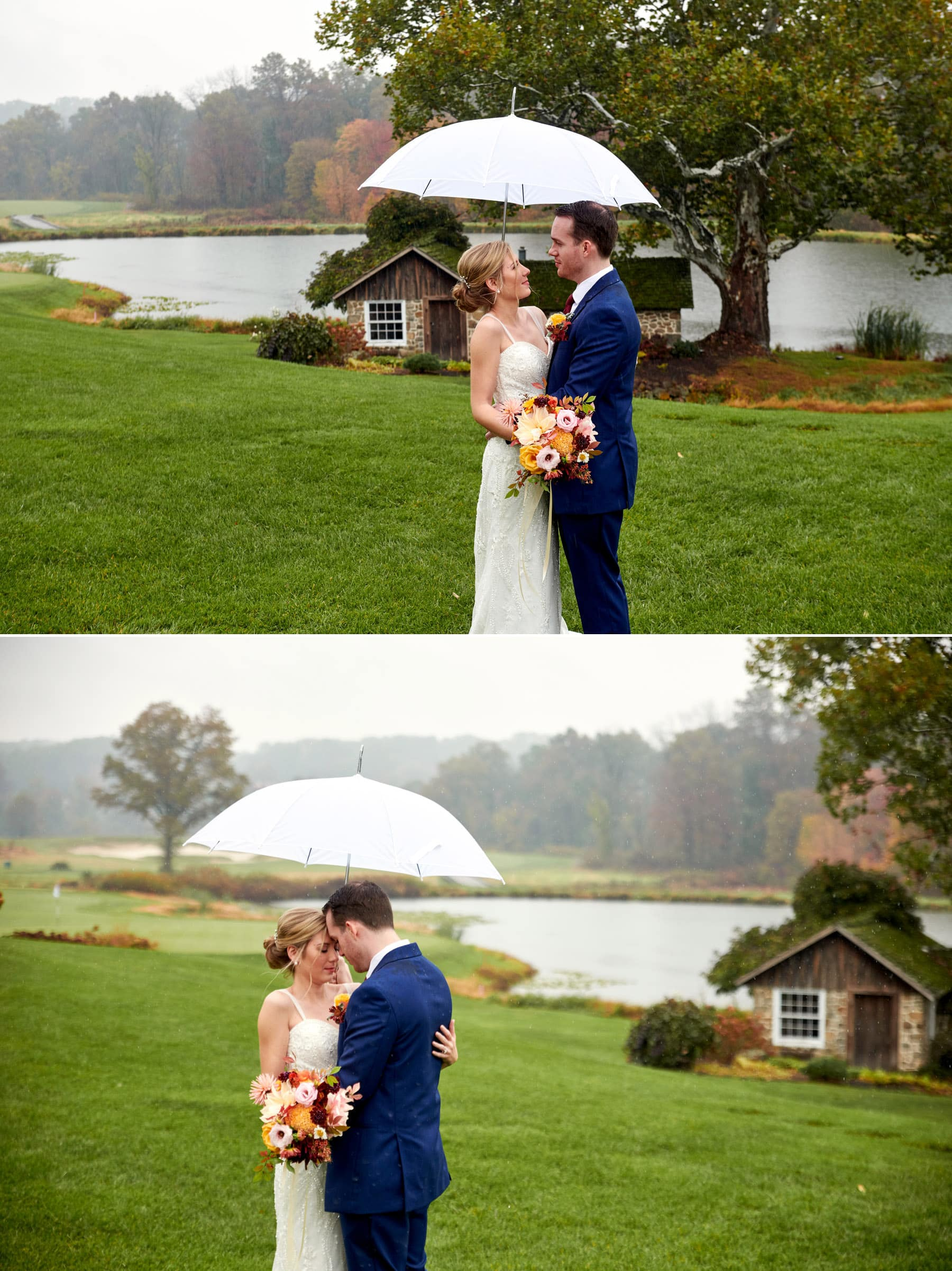 French Creek Golf Club rainy wedding photos