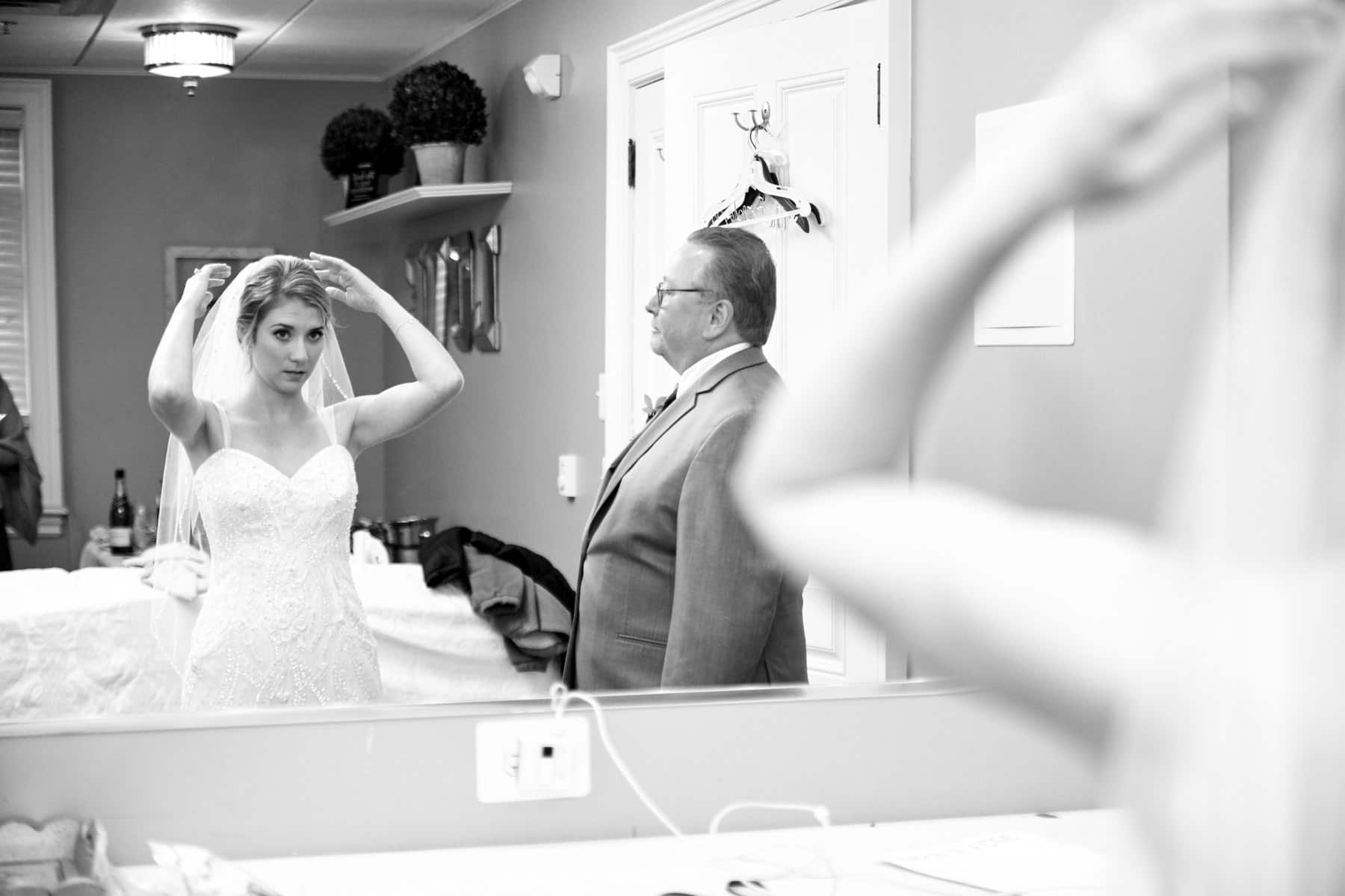 bride getting ready for the ceremony at French Creek Golf Club