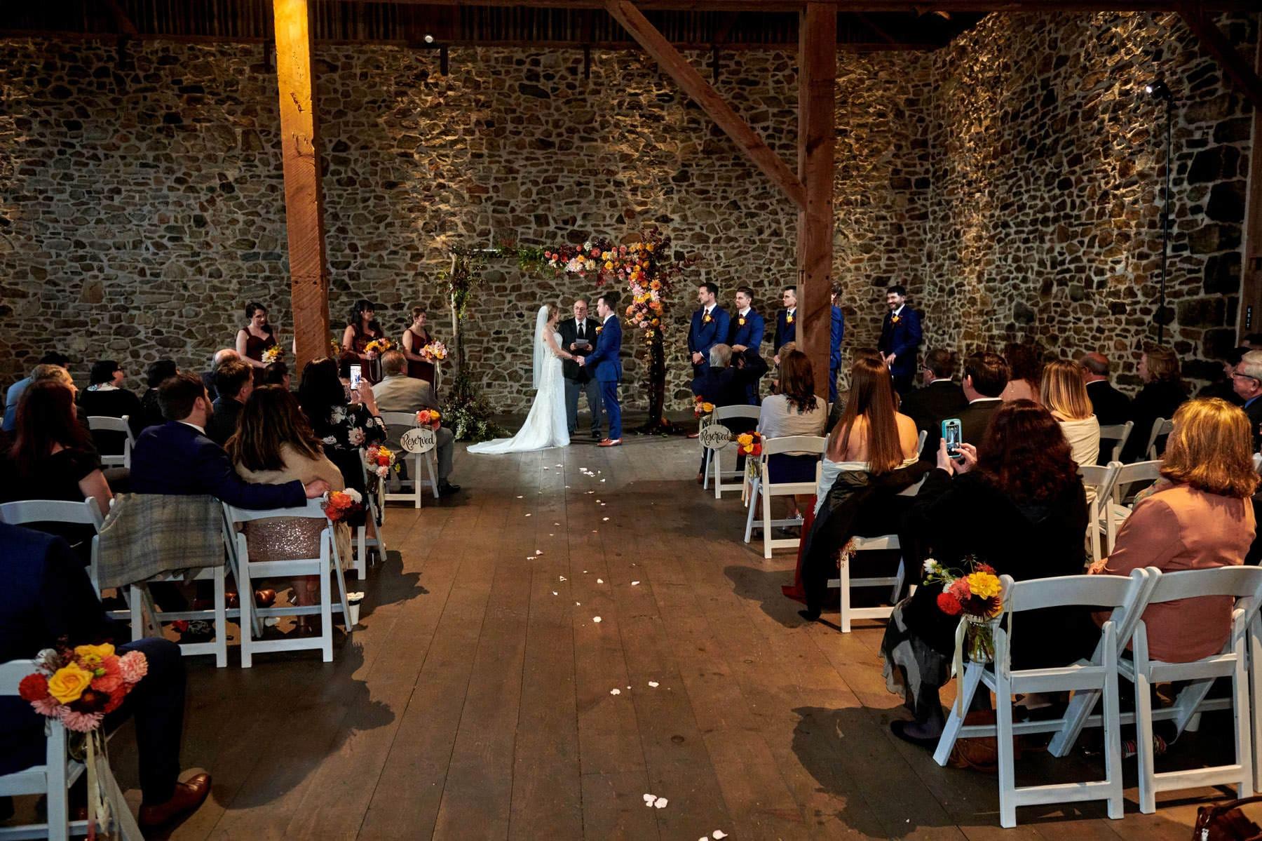barn wedding ceremony photo at French Creek Golf Club
